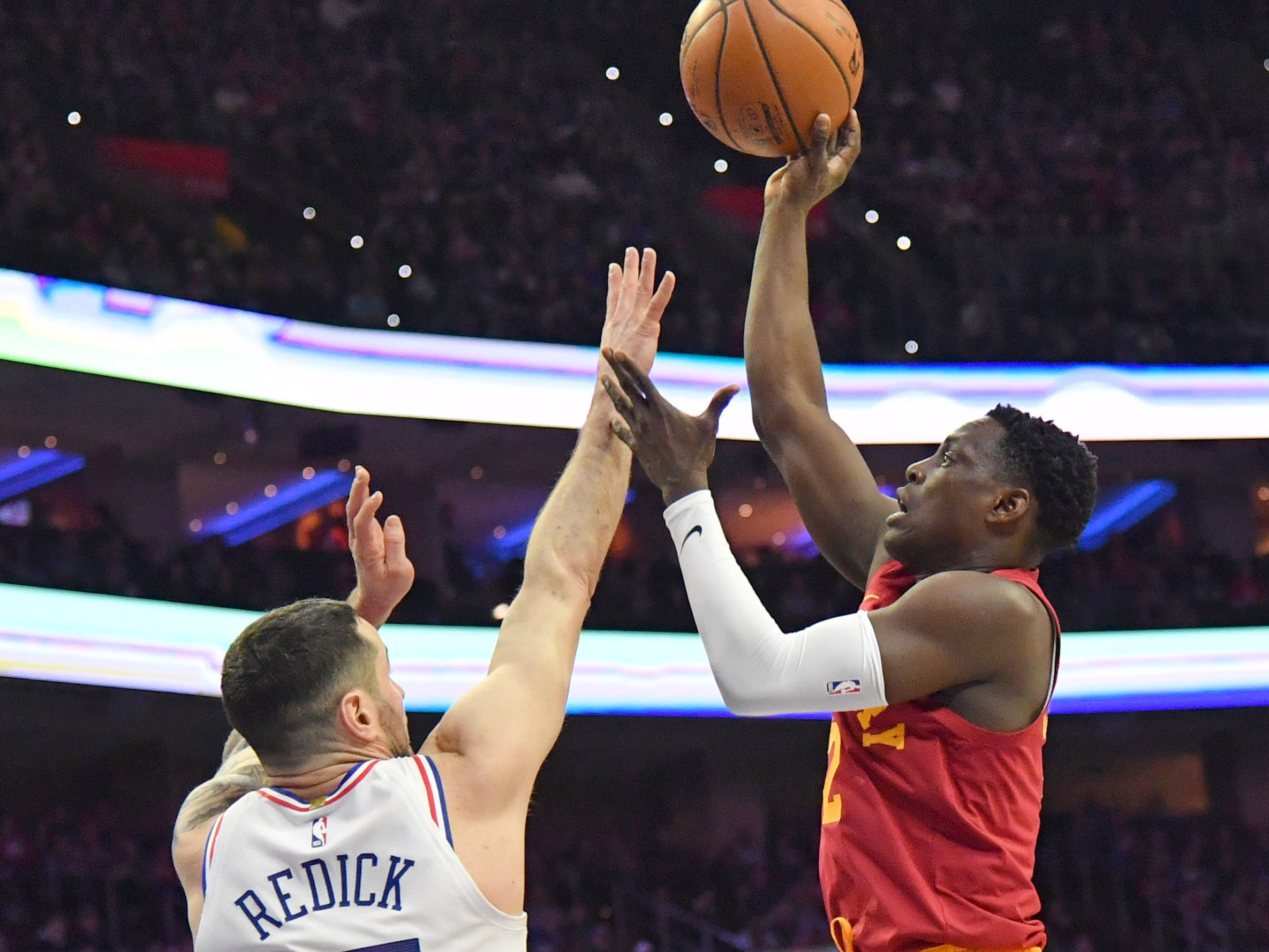 Mar 10, 2019; Philadelphia, PA, USA; Indiana Pacers guard Darren Collison (2) shoots over Philadelphia 76ers guard JJ Redick (17) during the first quarter at Wells Fargo Center.