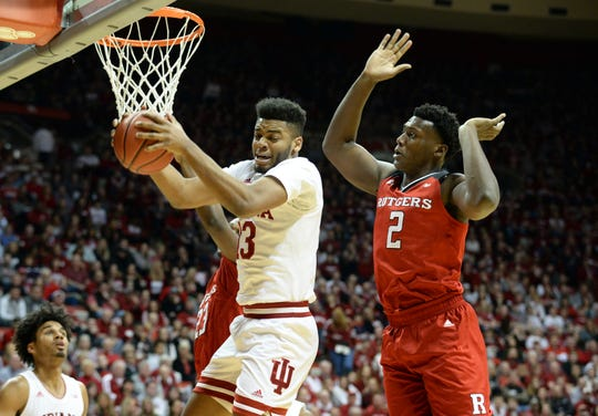 Indiana Hoosiers forward Juwan Morgan (13) rebounds the ball during the game against Rutgers at Simon Skjodt Assembly Hall in Bloomington Ind., on Sunday, March 10, 2019.