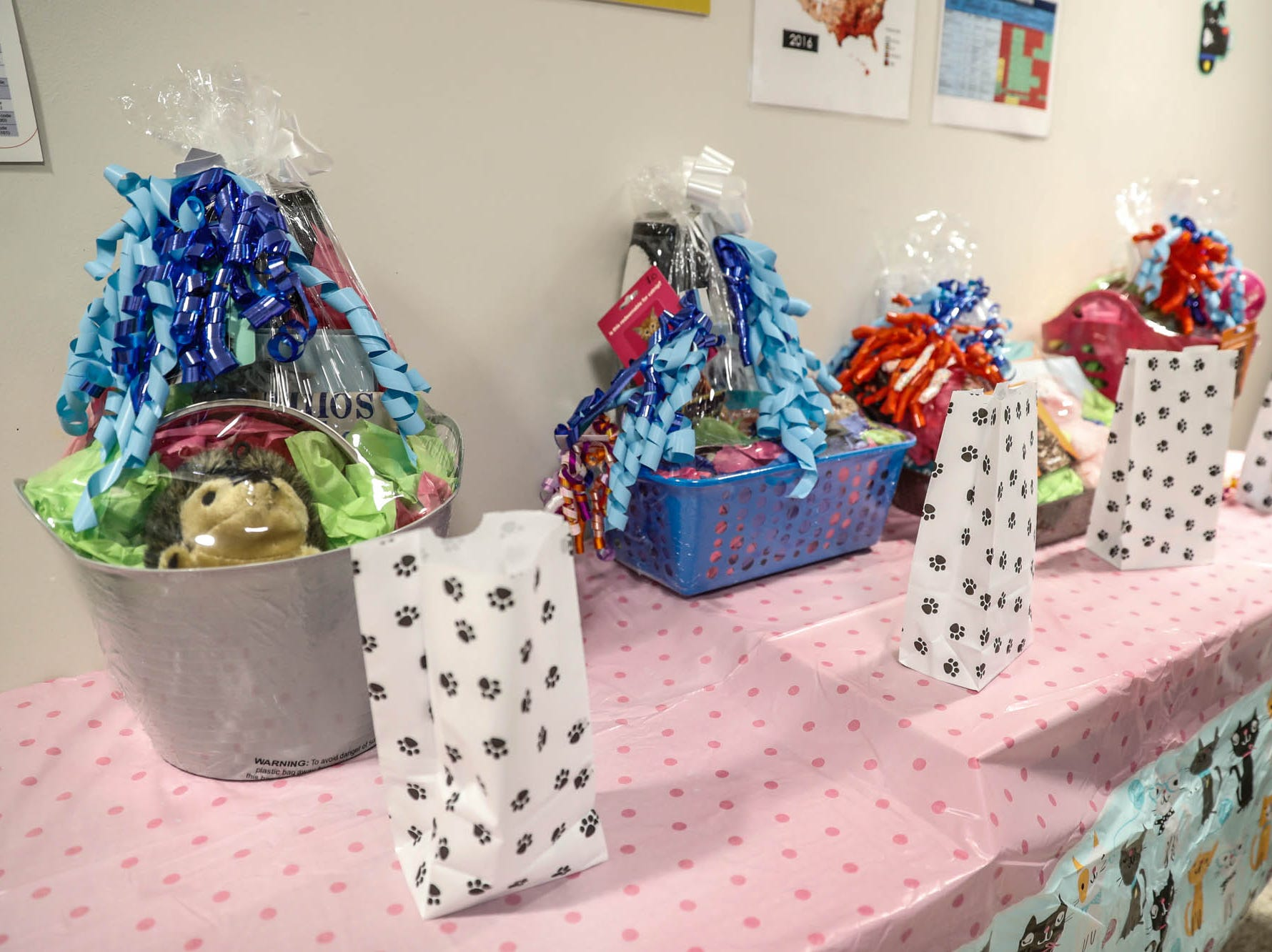 Prizes for the silent auction and raffle are on display at Indy Humane during their Puppy and Kitten Baby Shower, held at Indy Humane on Sunday, March 10, 2019. The event educates families on Indy Humane's foster care program, as Fosters are needed in the spring during puppy and kitten season.