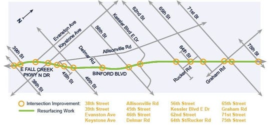 Project map for a $5.5 million pothole project on Binford Boulevard