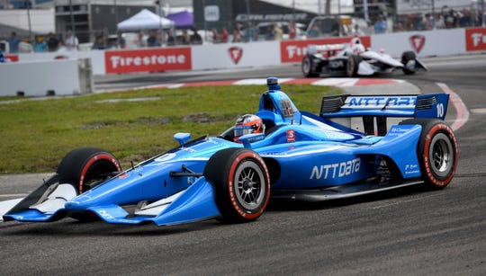 Chip Ganassi Racing's Felix Rosenqvist (10), of Sweden, drives during the IndyCar Firestone Grand Prix of St. Petersburg (Fla.) auto race Sunday, March 10, 2019, in St Petersburg, Fla.