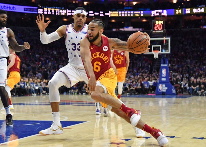 Mar 10, 2019; Philadelphia, PA, USA; Indiana Pacers guard Cory Joseph (6) drives to the basket against Philadelphia 76ers forward Tobias Harris (33) during the second quarter at Wells Fargo Center.