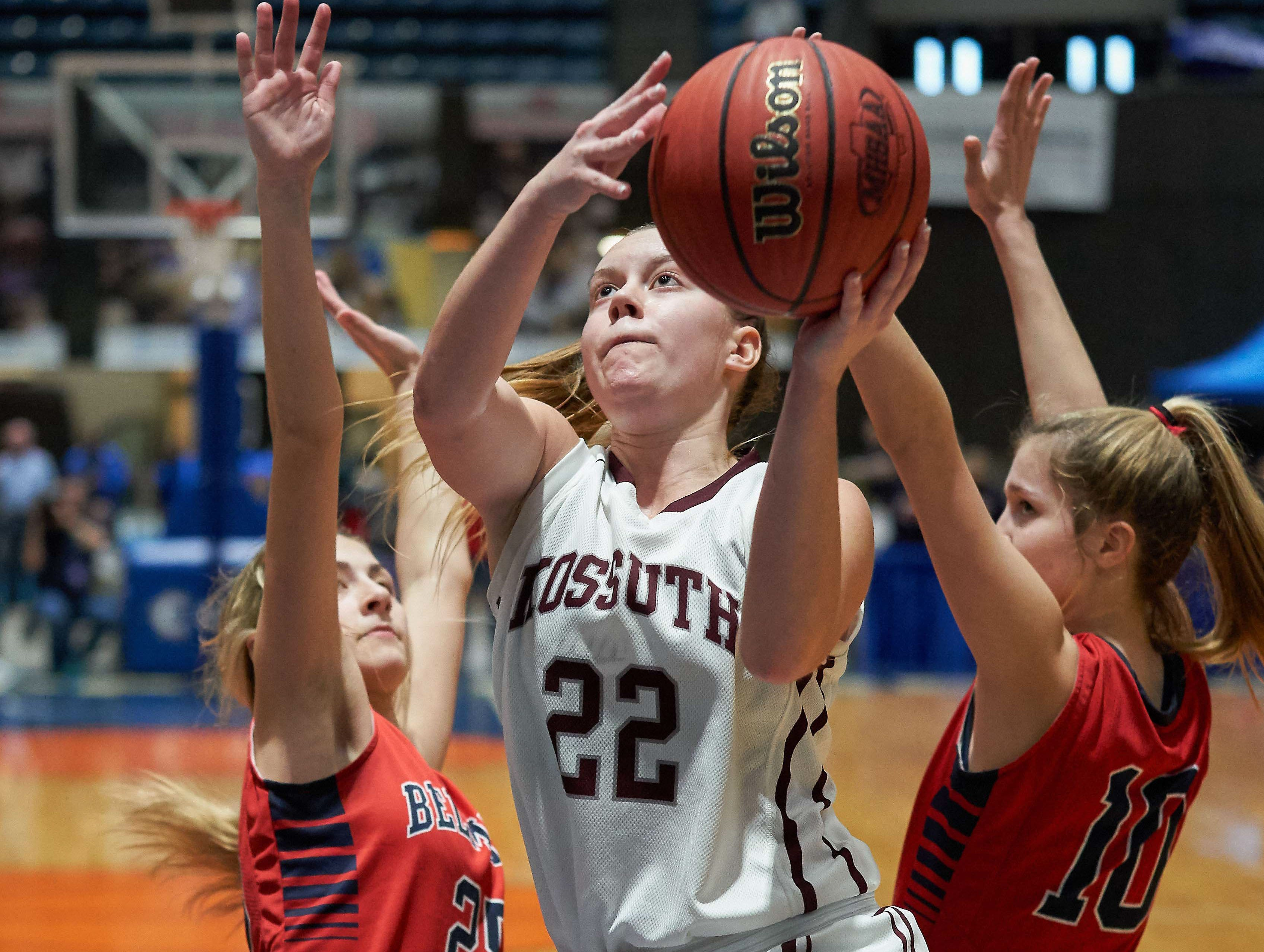 Kossuth's Morgan Hodum (22) shoots against Belmont during the MHSAA 3A Girls Basketball Championship Finals held at the Mississippi Coliseum in Jackson, MS, Saturday March 9th, 2019.(Bob Smith)