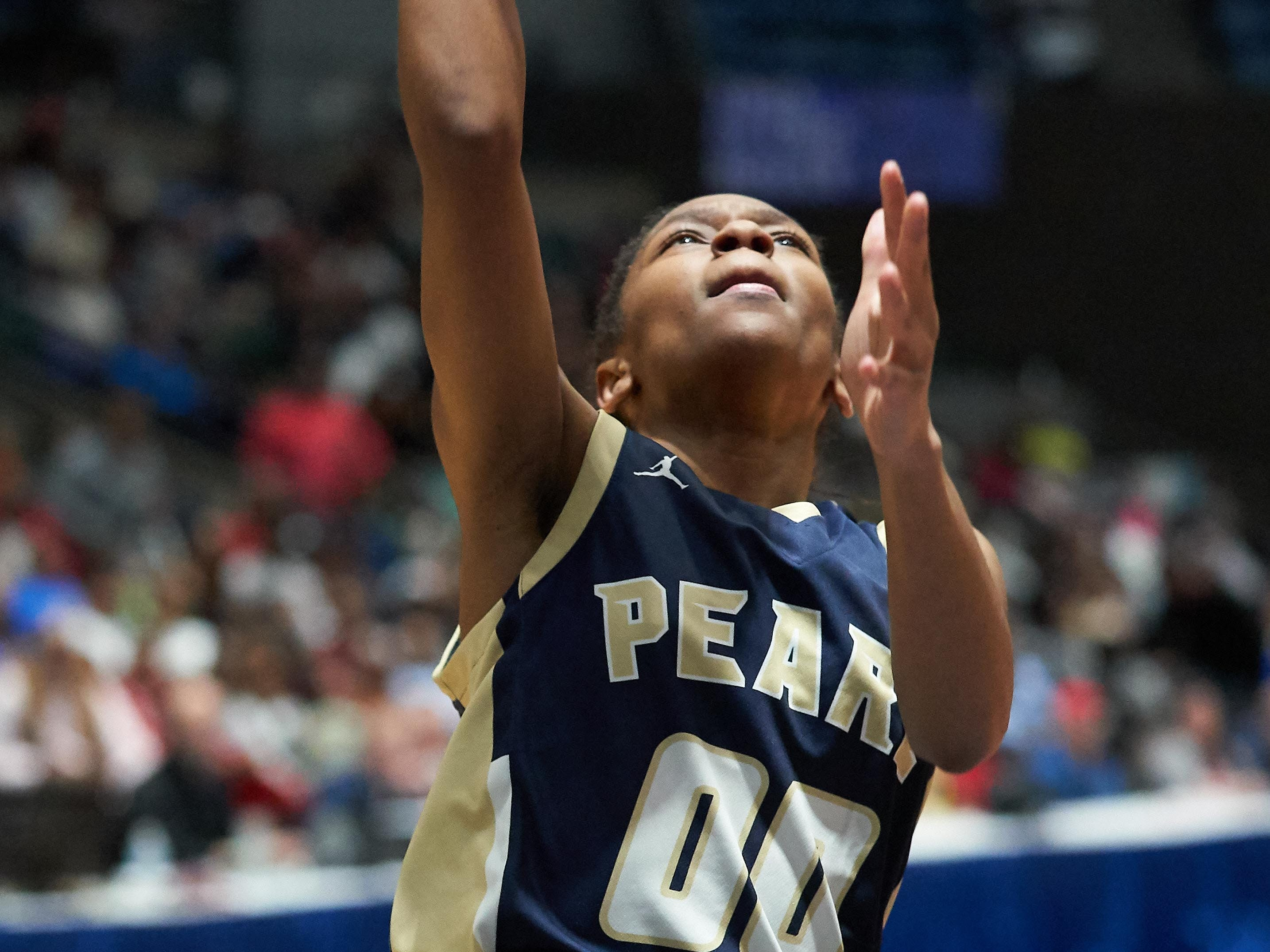 Pearl's Olivia Knight (00) shoots against Terry during the MHSAA 6A Girls Basketball Championship Finals held at the Mississippi Coliseum in Jackson, MS, Saturday March 9th, 2019.(Bob Smith)