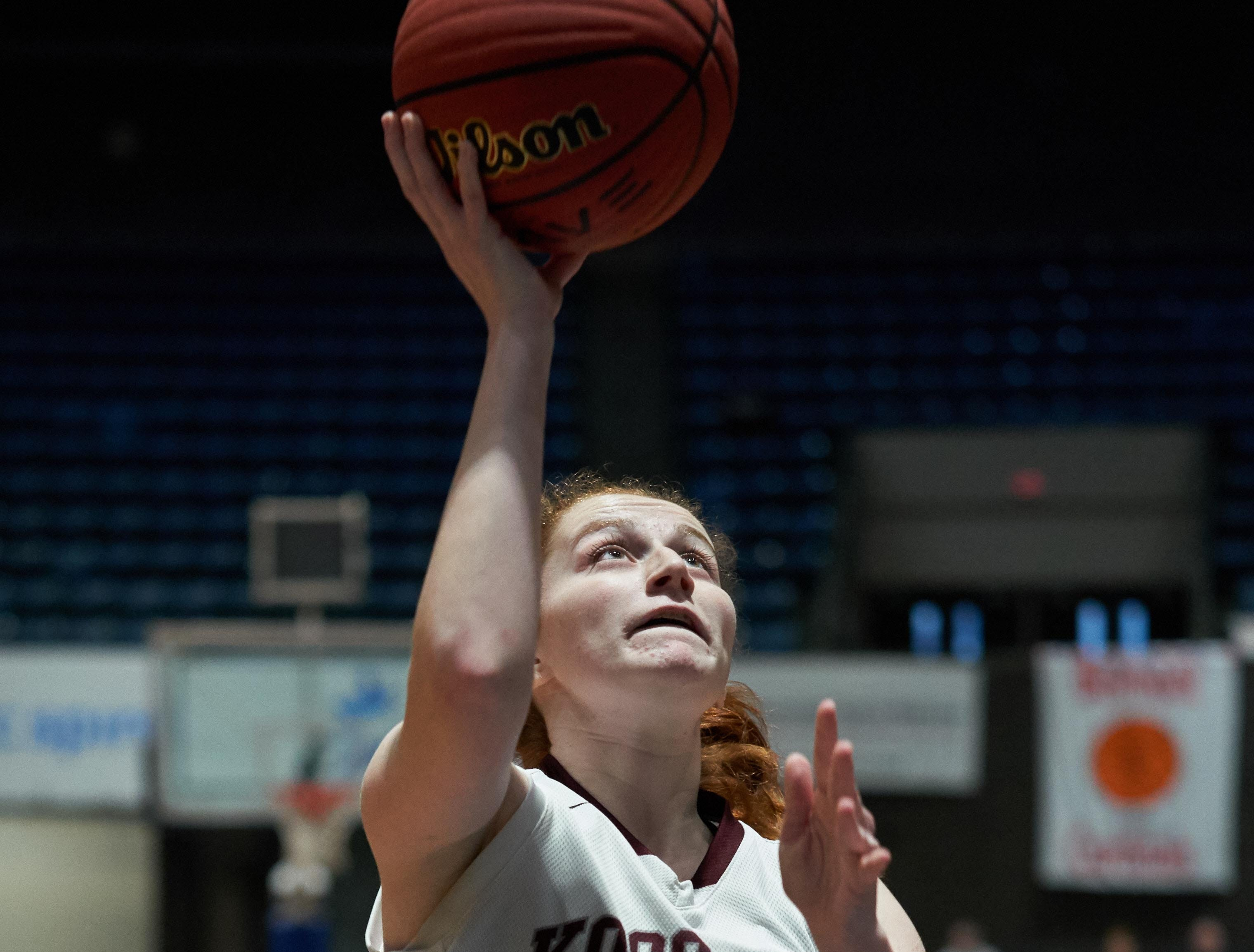 Kossuth's Faith WIlliamson (10) shoots against Belmont during the MHSAA 3A Girls Basketball Championship Finals held at the Mississippi Coliseum in Jackson, MS, Saturday March 9th, 2019.(Bob Smith)