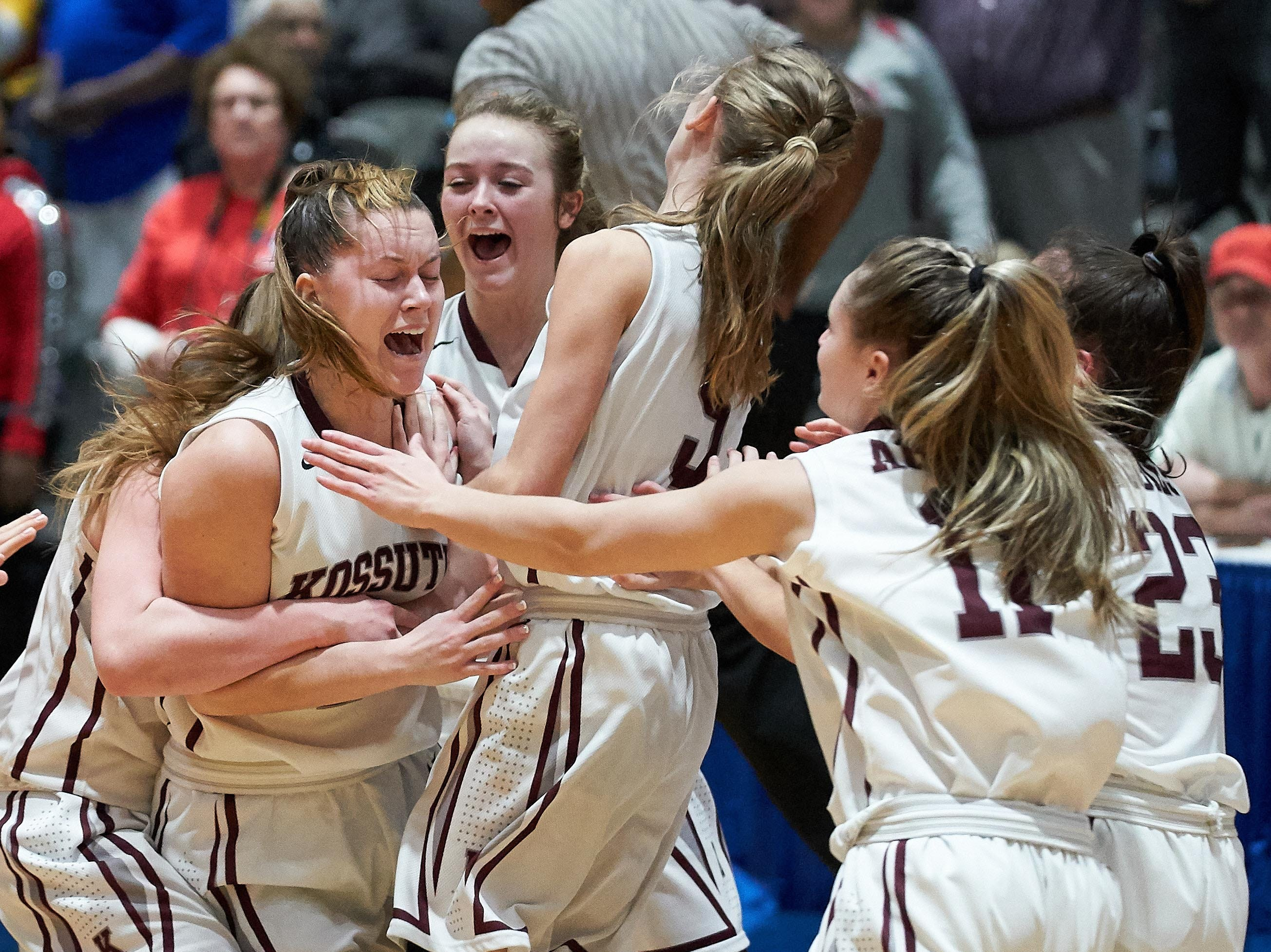 Kossuth players celebrate following their 48-44 win over Belmont during the MHSAA 3A Girls Basketball Championship Finals held at the Mississippi Coliseum in Jackson, MS, Saturday March 9th, 2019.(Bob Smith)