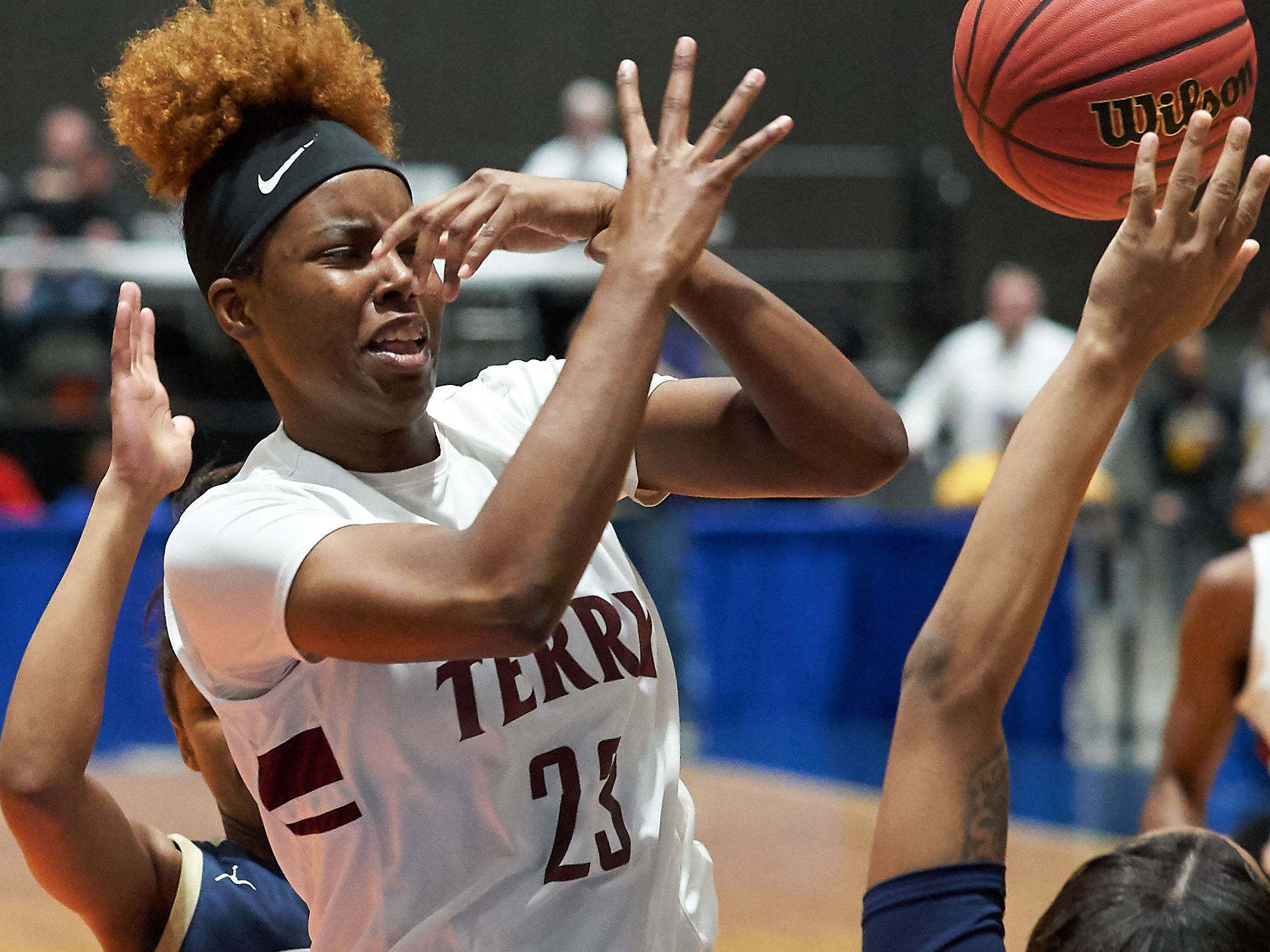 Terry's Kayla Fisher (23) is fouled on the way to the basket by Pearl during the MHSAA 6A Girls Basketball Championship Finals held at the Mississippi Coliseum in Jackson, MS, Saturday March 9th, 2019.(Bob Smith)