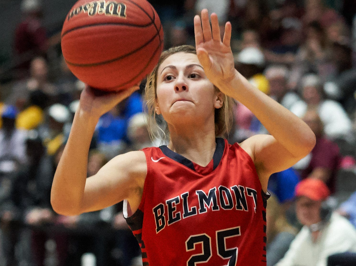 Belmont Lydia Liles (25) shoots against Kossuth during the MHSAA 3A Girls Basketball Championship Finals held at the Mississippi Coliseum in Jackson, MS, Saturday March 9th, 2019.(Bob Smith)