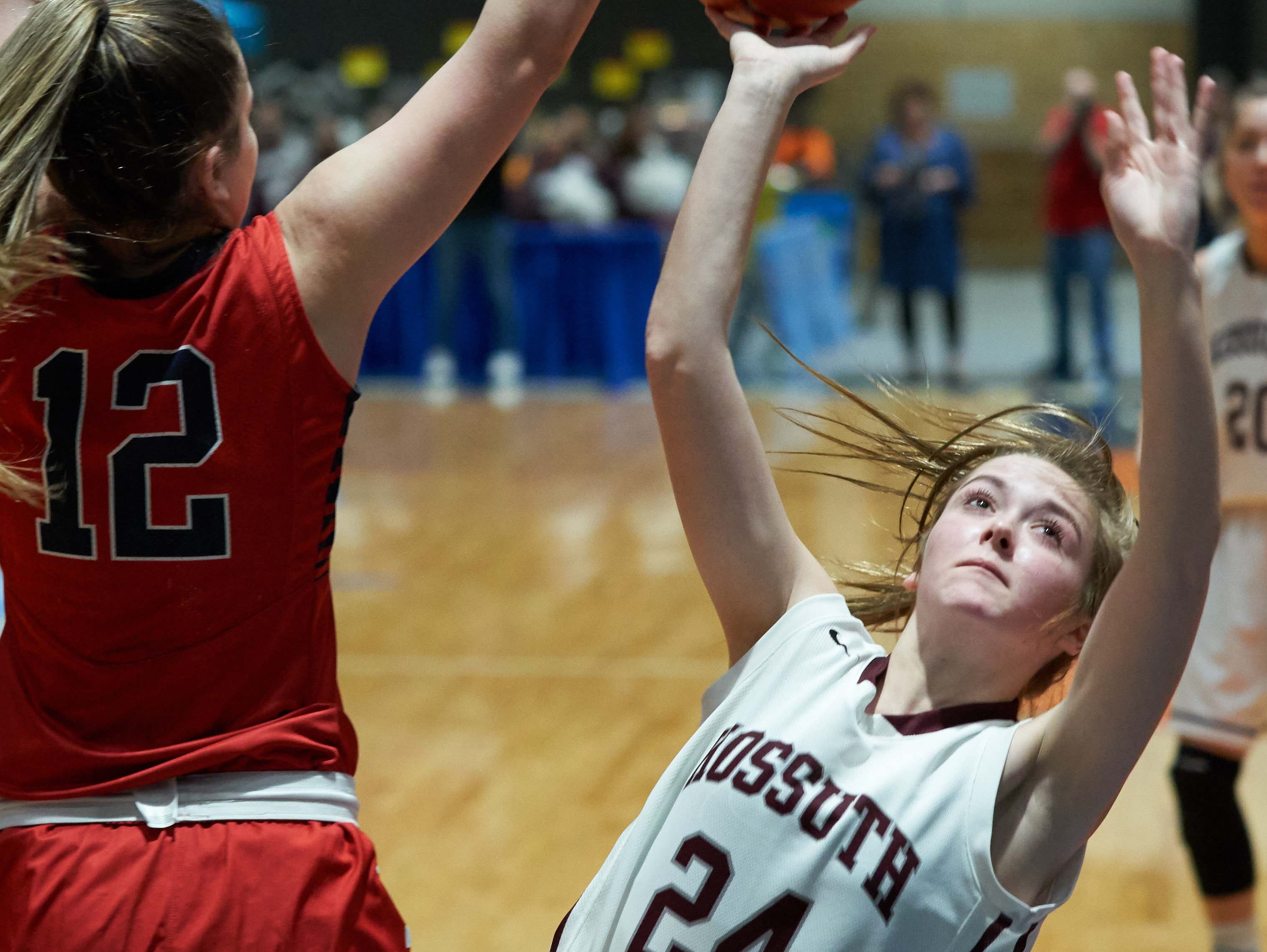 Kossuth's Regan Bobo (24) shoots against Belmont during the MHSAA 3A Girls Basketball Championship Finals held at the Mississippi Coliseum in Jackson, MS, Saturday March 9th, 2019.(Bob Smith)