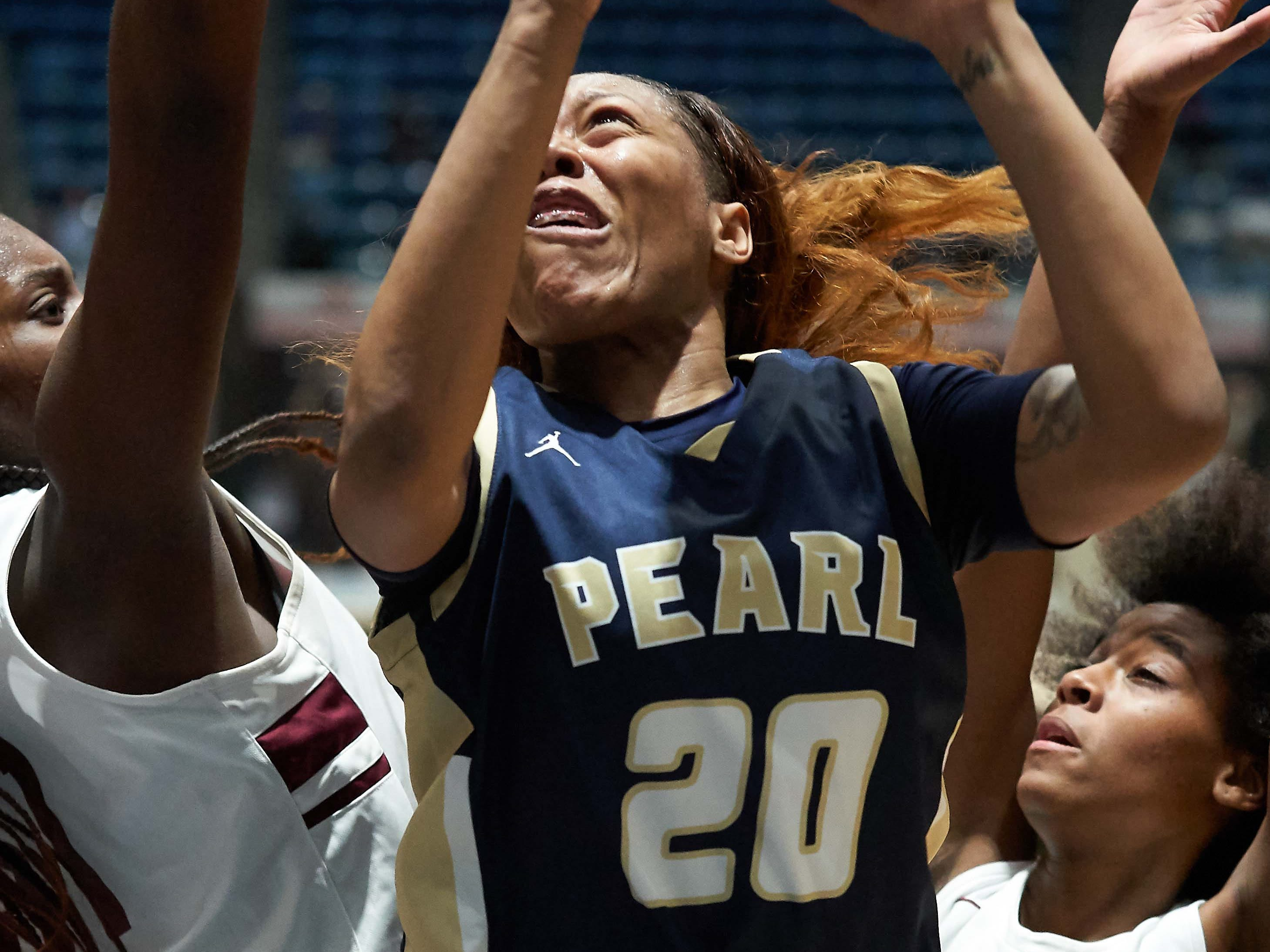 Pearl's Jayla Alexander (20) shoots against Terry during the MHSAA 6A Girls Basketball Championship Finals held at the Mississippi Coliseum in Jackson, MS, Saturday March 9th, 2019.(Bob Smith)