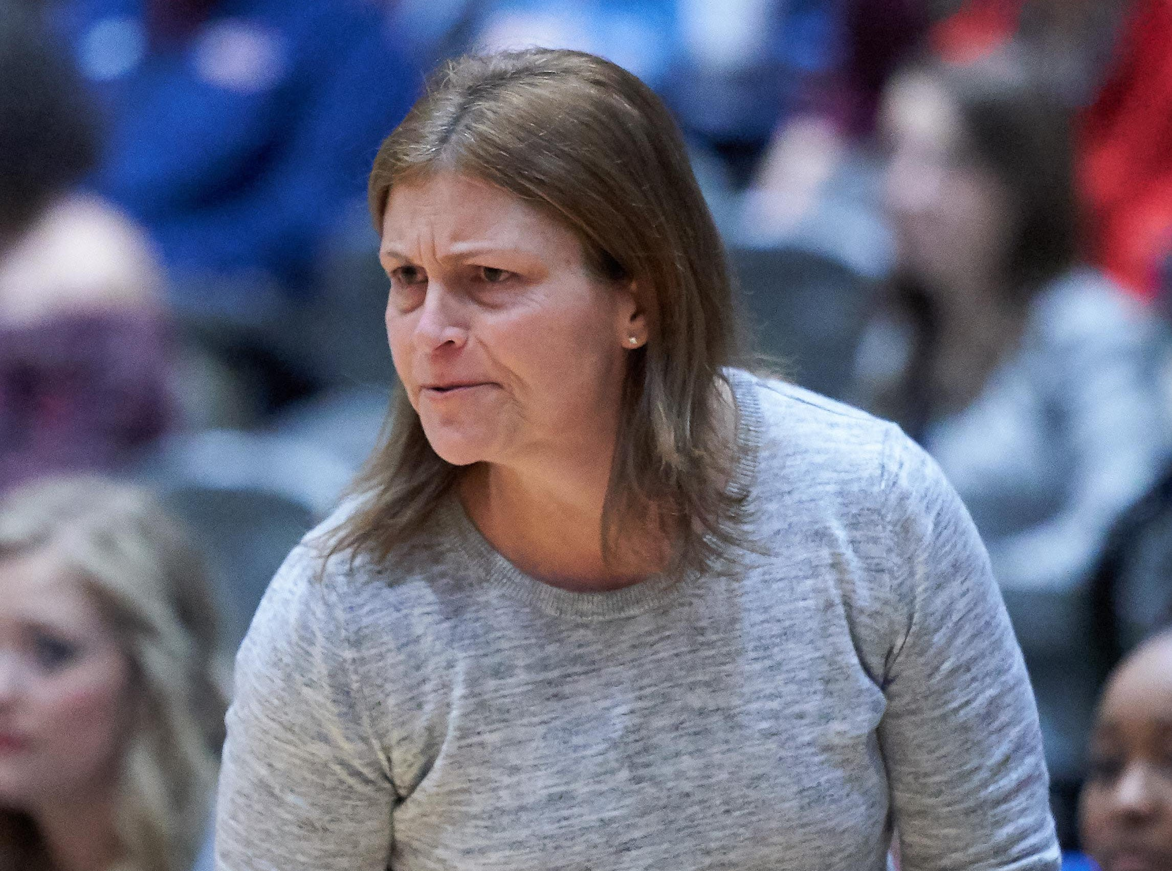 Kossuth head coach Angie Malone encourages her team against Belmont during the MHSAA 3A Girls Basketball Championship Finals held at the Mississippi Coliseum in Jackson, MS, Saturday March 9th, 2019.(Bob Smith)