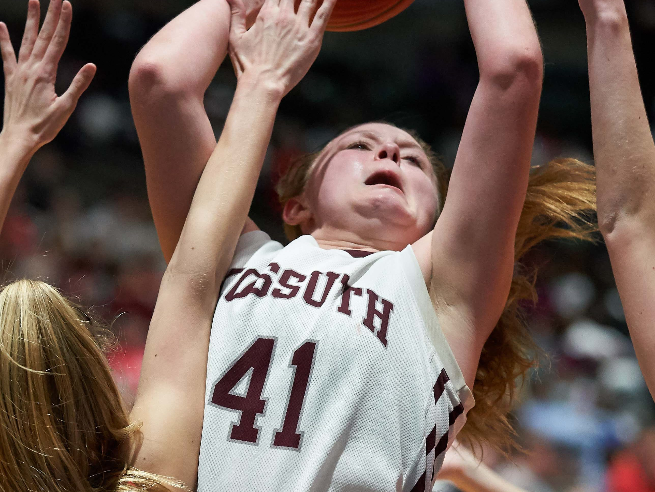 Kossuth's Zoe Essary (41) against Belmont during the MHSAA 3A Girls Basketball Championship Finals held at the Mississippi Coliseum in Jackson, MS, Saturday March 9th, 2019.(Bob Smith)