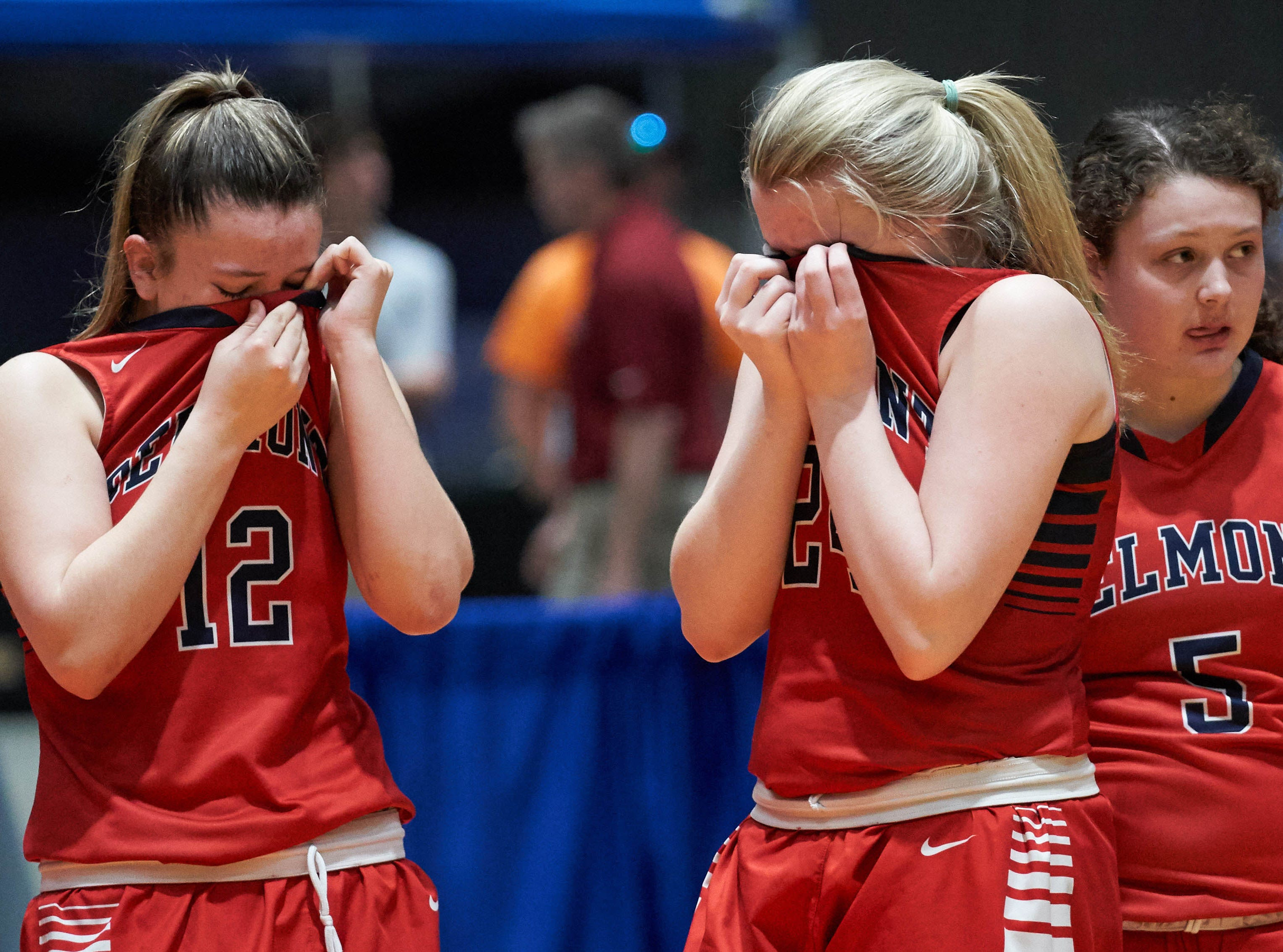 Delected Belmont playeres look on as Kossuth celebrates teh win during the MHSAA 3A Girls Basketball Championship Finals held at the Mississippi Coliseum in Jackson, MS, Saturday March 9th, 2019.(Bob Smith)