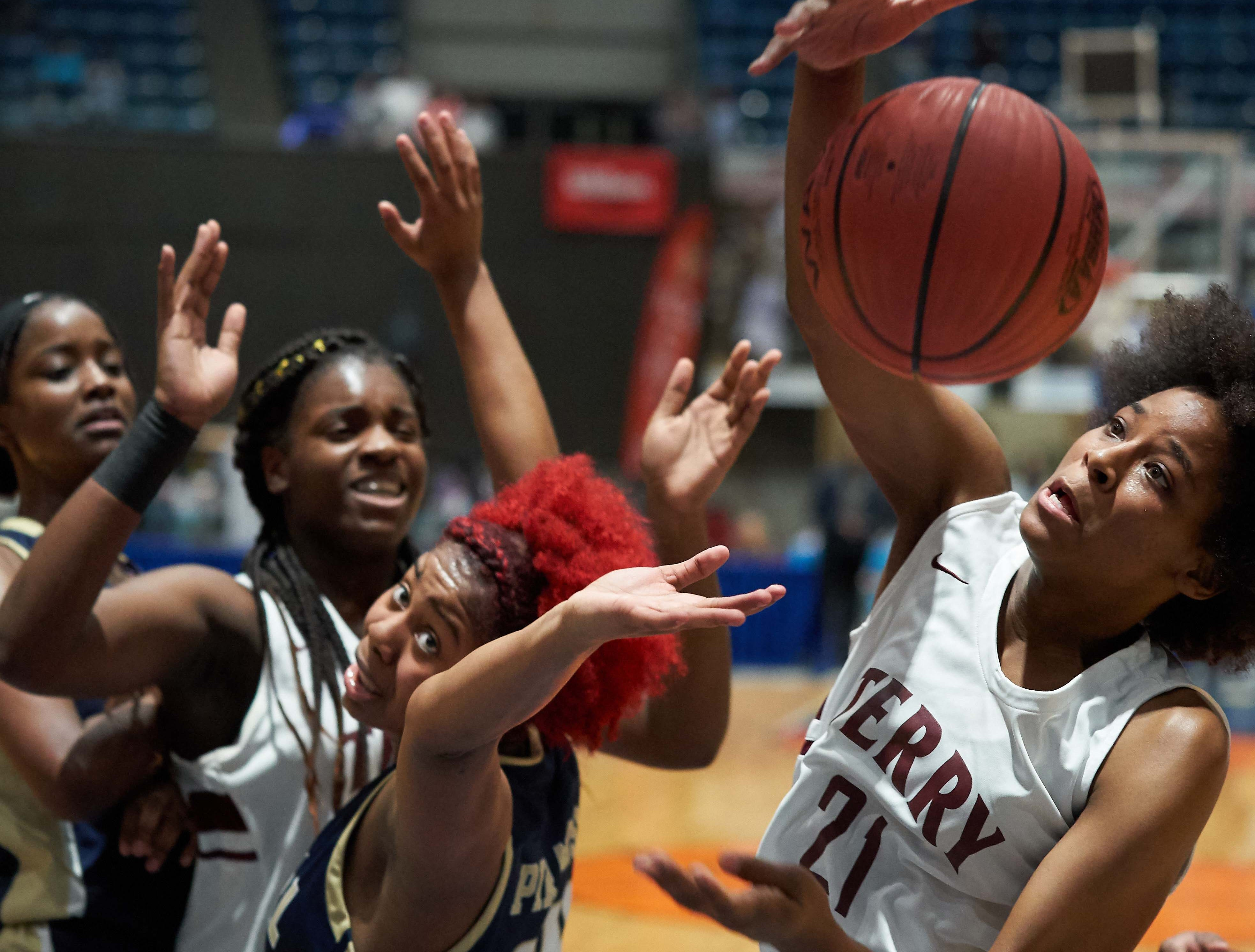 Pearl's Jade Miles (24) and Terry's Ayani Cockerill (21) fight for a loose ball during the MHSAA 6A Girls Basketball Championship Finals held at the Mississippi Coliseum in Jackson, MS, Saturday March 9th, 2019.(Bob Smith)