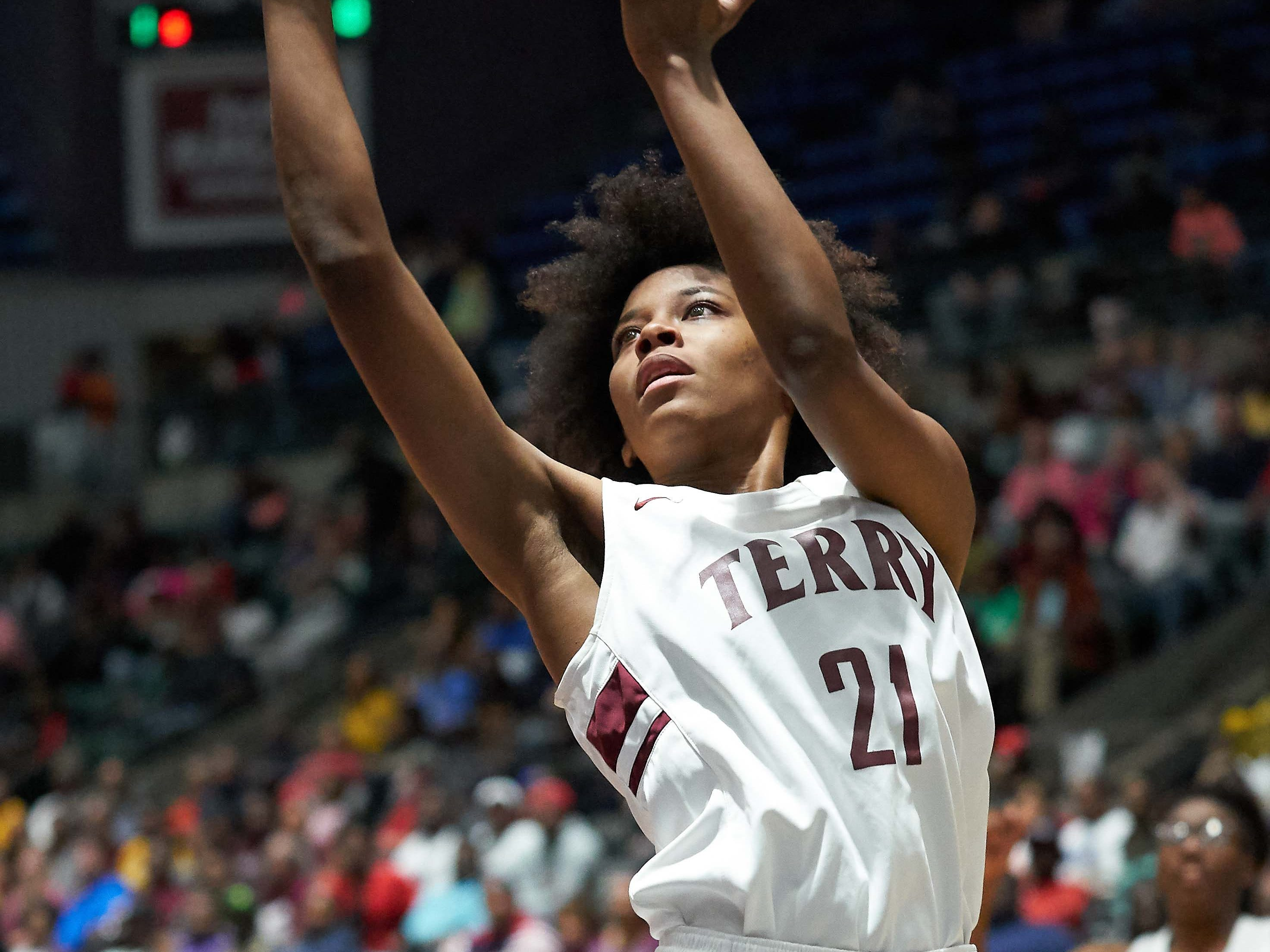 Terry's Ayani Cockrell (21) shoots against Pearl during the MHSAA 6A Girls Basketball Championship Finals held at the Mississippi Coliseum in Jackson, MS, Saturday March 9th, 2019.(Bob Smith)