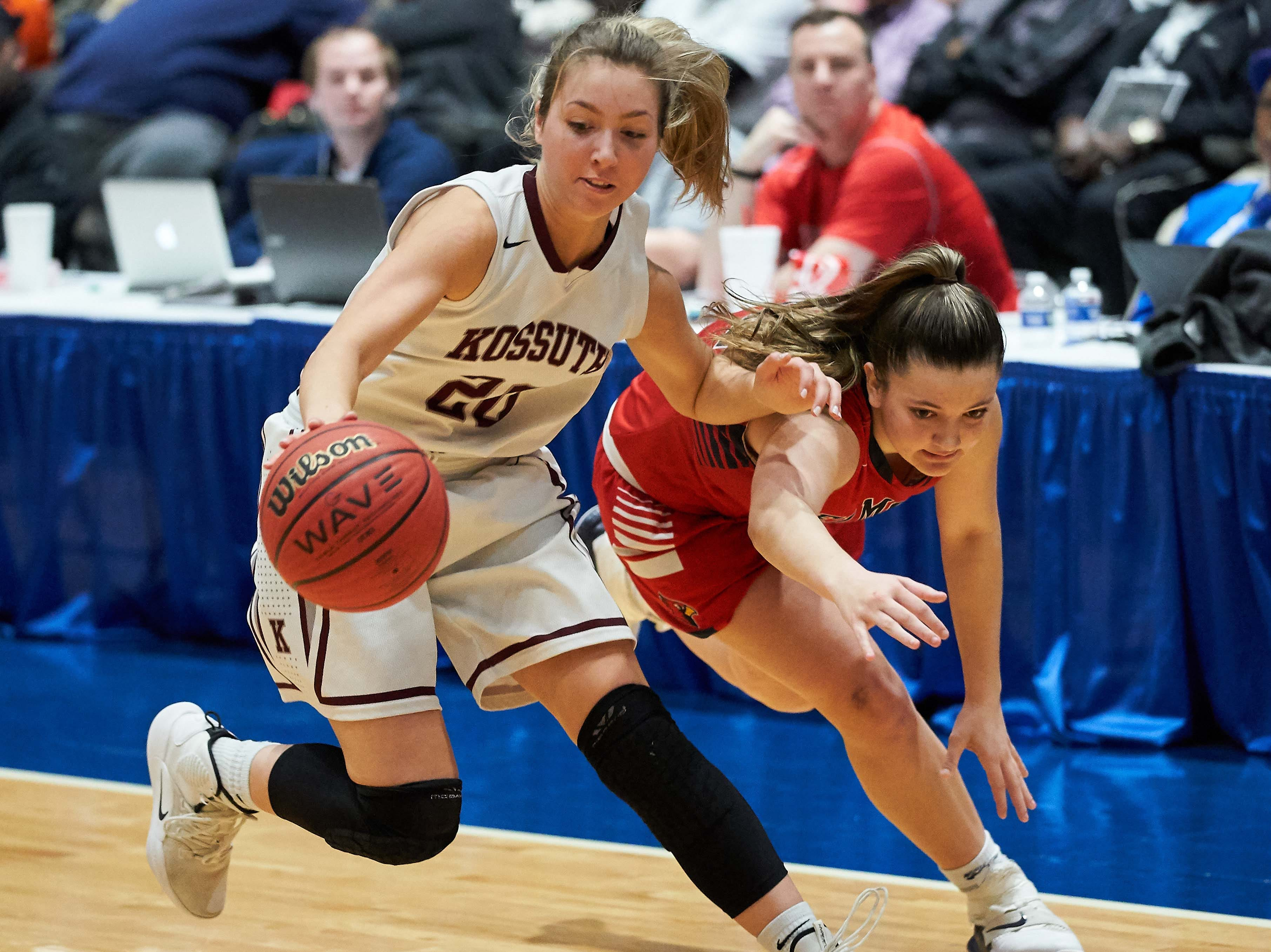 Kossuth's Madison Starling (20) steals the ball from Belmont's Lacie Walker  during the MHSAA 3A Girls Basketball Championship Finals held at the Mississippi Coliseum in Jackson, MS, Saturday March 9th, 2019.(Bob Smith)