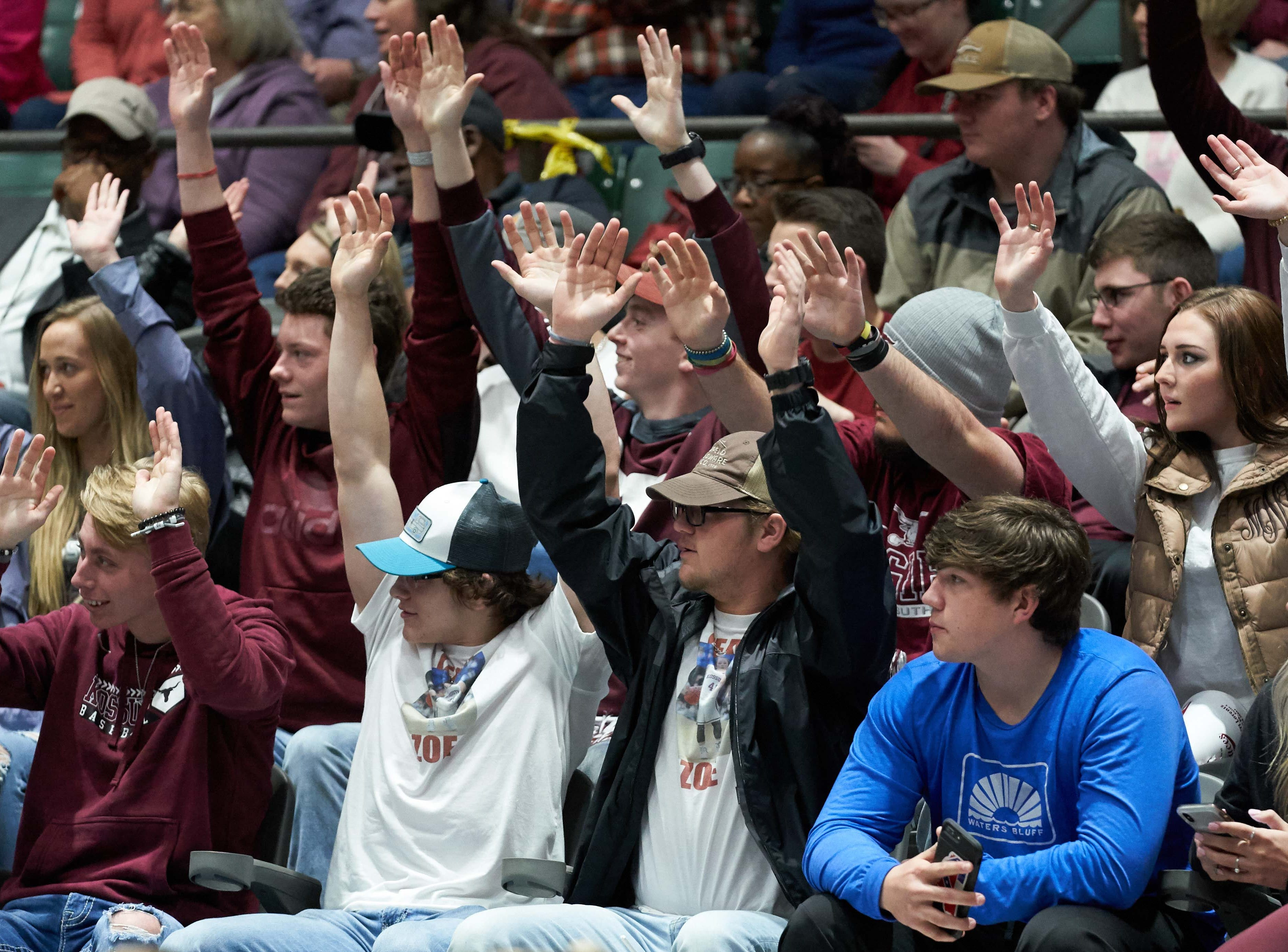 Kossuth fans cheer against Belmont during the MHSAA 3A Girls Basketball Championship Finals held at the Mississippi Coliseum in Jackson, MS, Saturday March 9th, 2019.(Bob Smith)