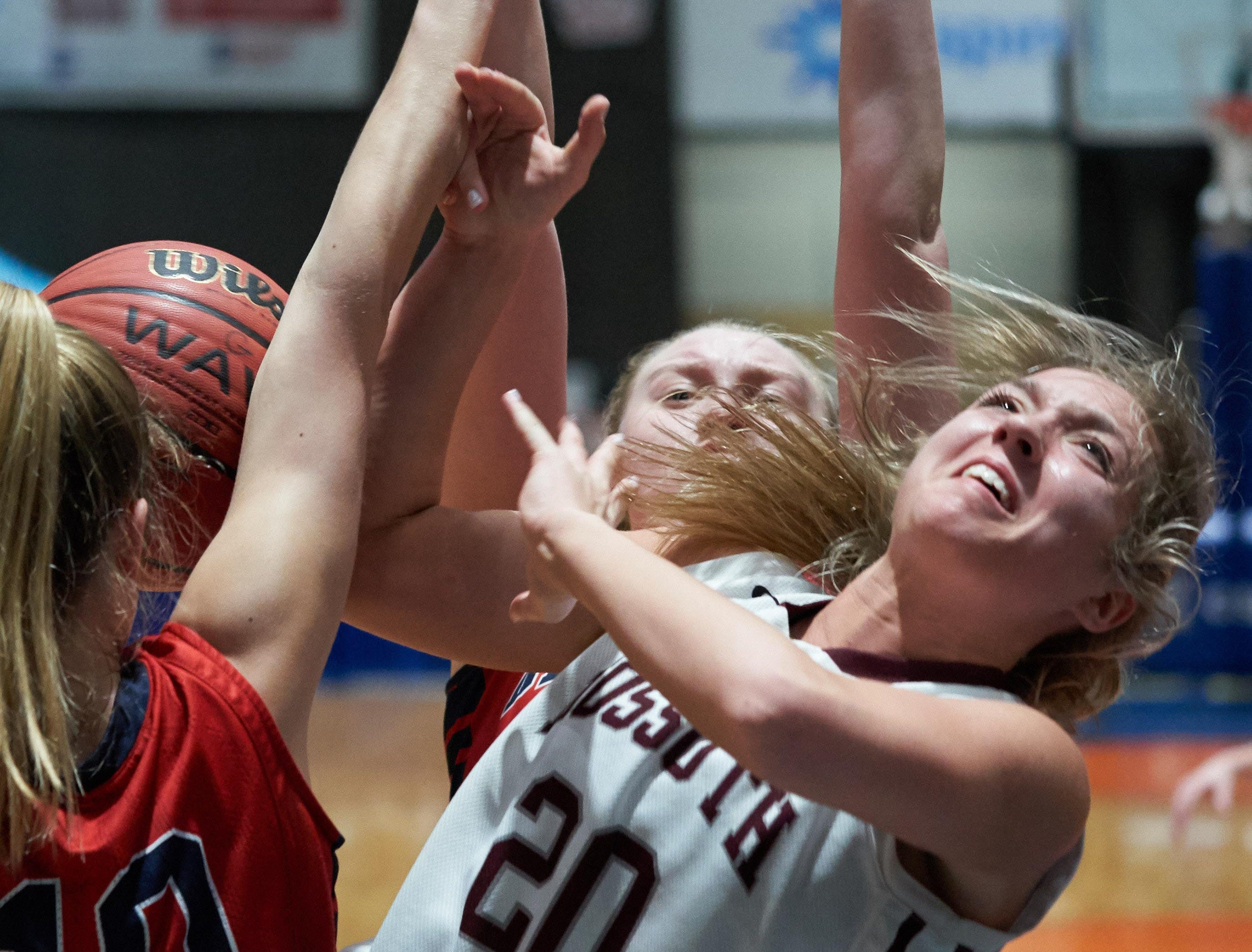 Kossuth's Madison Starling (20) is fouled while shooting against Belmont during the MHSAA 3A Girls Basketball Championship Finals held at the Mississippi Coliseum in Jackson, MS, Saturday March 9th, 2019.(Bob Smith)