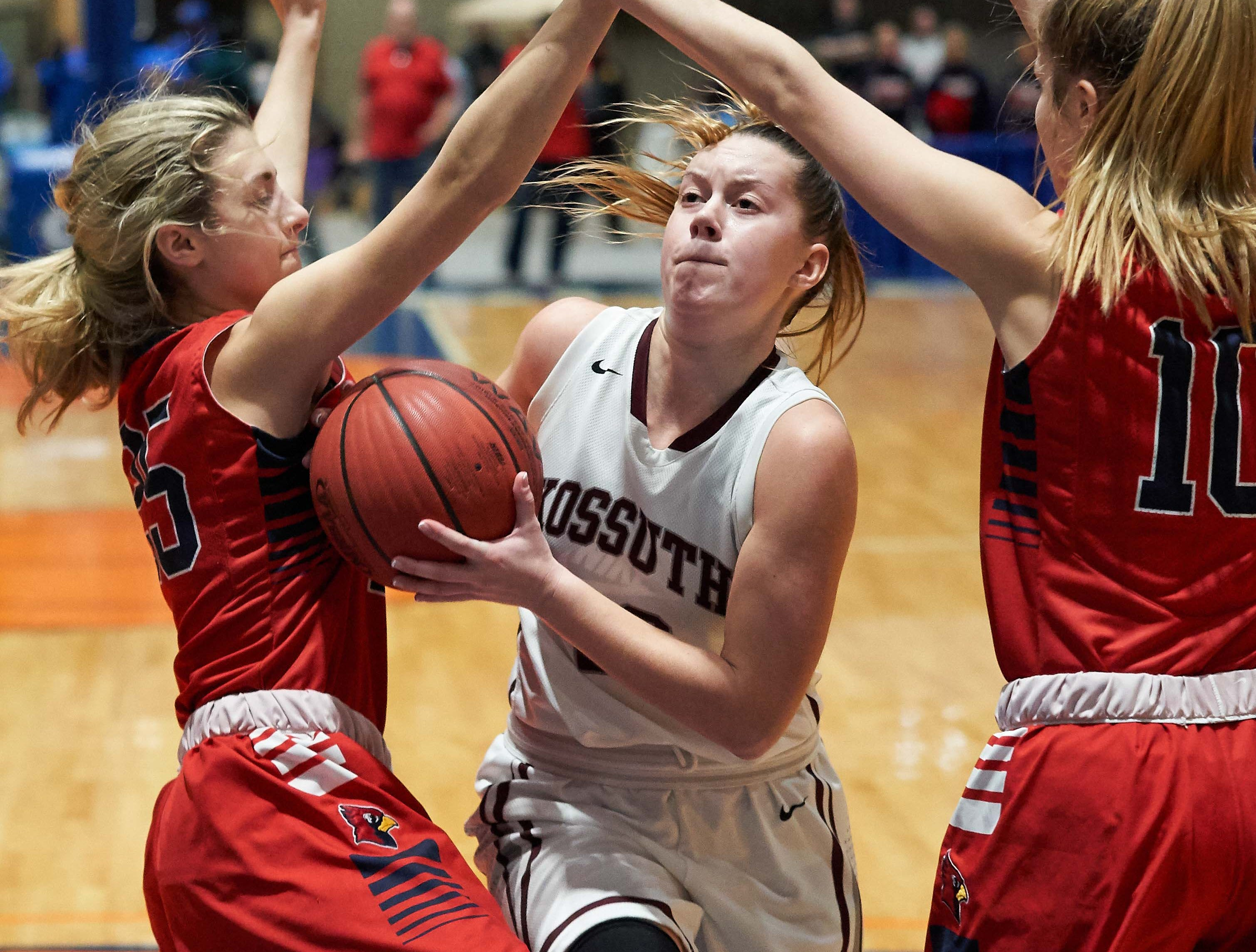 Kossuth's Morgan Hodum (22) drives against Belmont during the MHSAA 3A Girls Basketball Championship Finals held at the Mississippi Coliseum in Jackson, MS, Saturday March 9th, 2019.(Bob Smith)