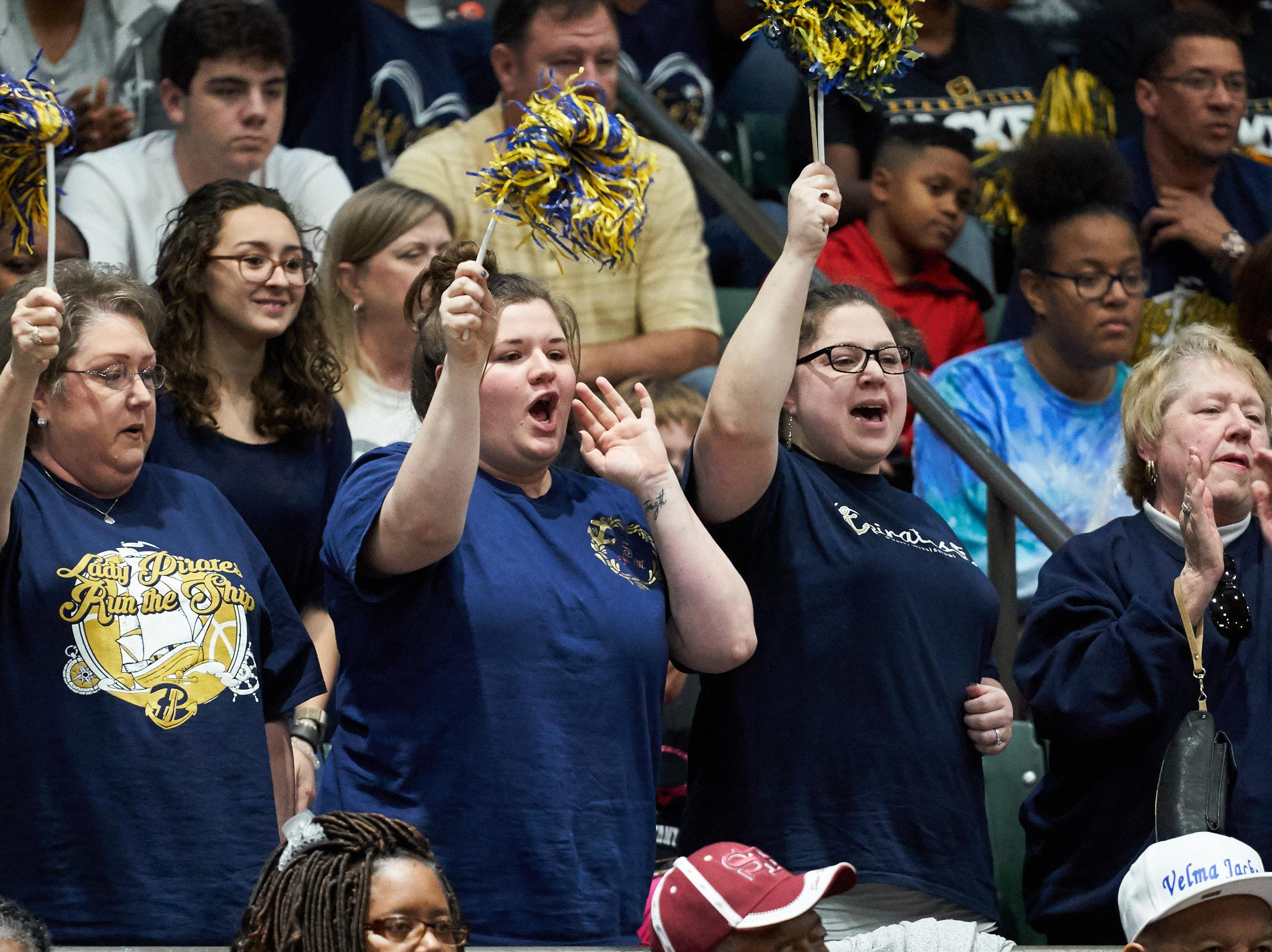 Pearl fans cheer during the MHSAA 6A Girls Basketball Championship Finals held at the Mississippi Coliseum in Jackson, MS, Saturday March 9th, 2019.(Bob Smith)