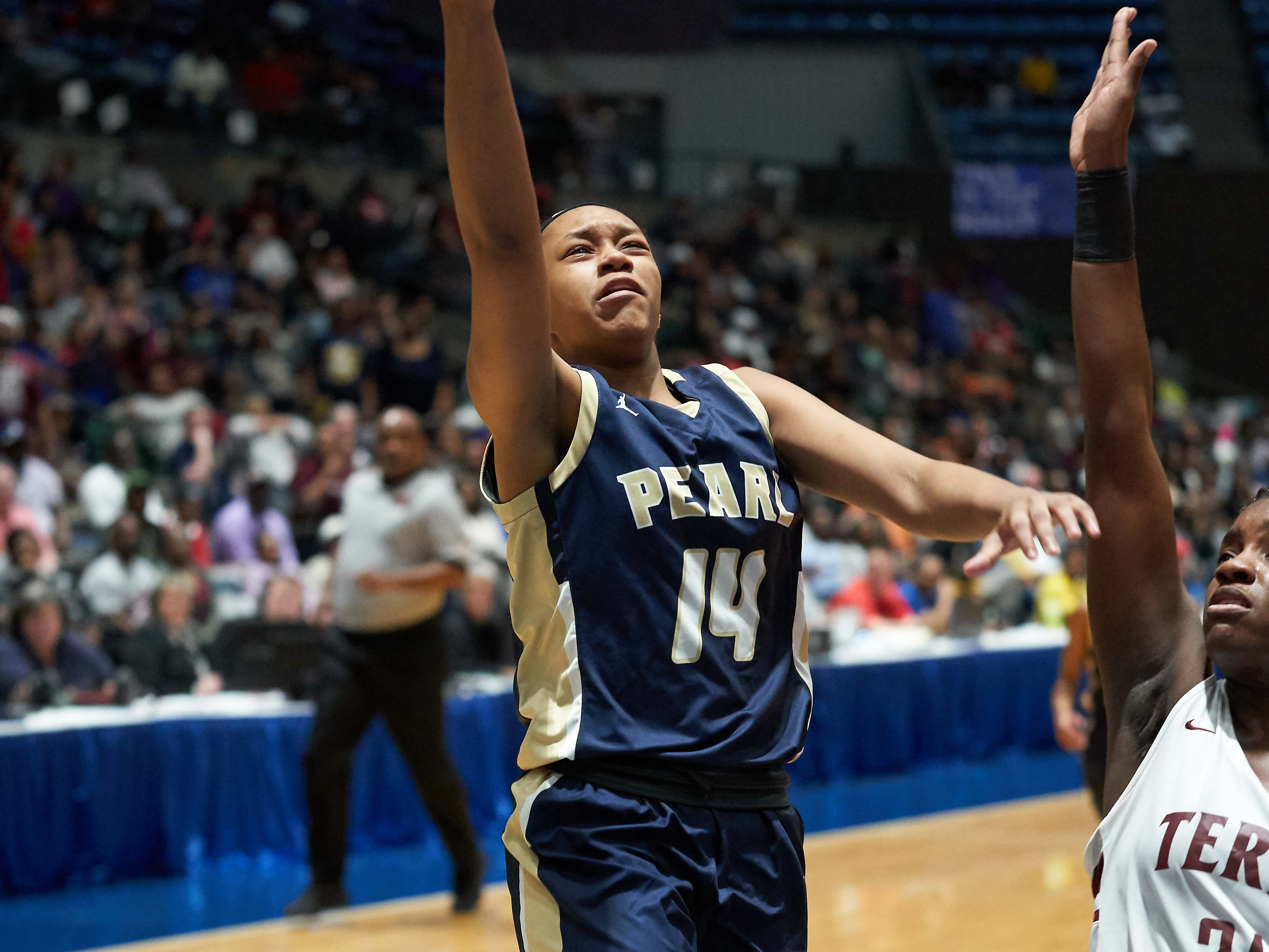 Pearl's Kaliya Taylor (14) glides in for a layup against Terry during the MHSAA 6A Girls Basketball Championship Finals held at the Mississippi Coliseum in Jackson, MS, Saturday March 9th, 2019.(Bob Smith)