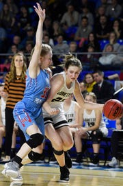 Loretto's Karly Weathers (22) drives against Gibson County on Saturday in the Class A championship game.