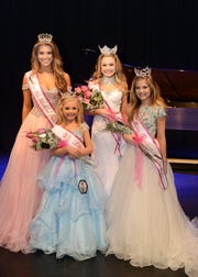 Miss Iris Tennessee Teen Volunteer winner McKinley Farese and Miss Tennessee Teen Volunteer winner Genevieve Geno stop for a photo with Little Miss Volunteer winner Farrah Jolie McDurmon and Miss Preteen Volunteer winner Kate Brison.