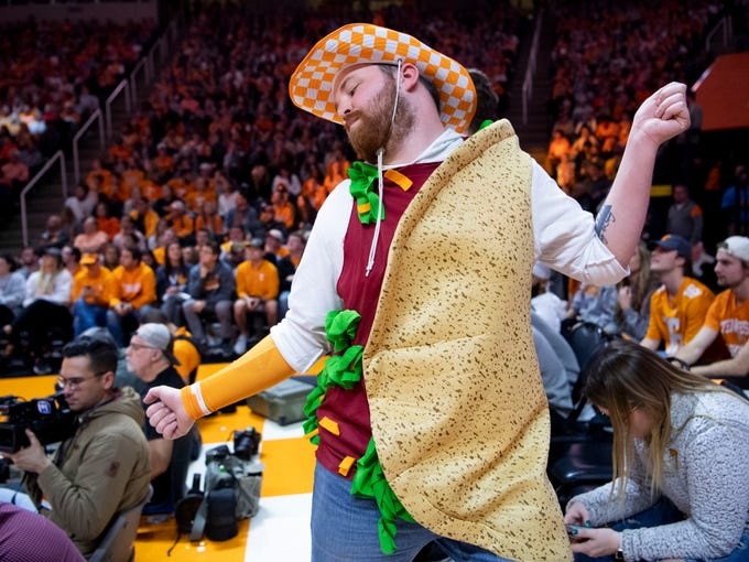 Colin Castleberry dances during the Vols basketball game against South Carolina on Wednesday, February 13, 2019. Castleberry is known as the Thompson-Boling Arena Taco.