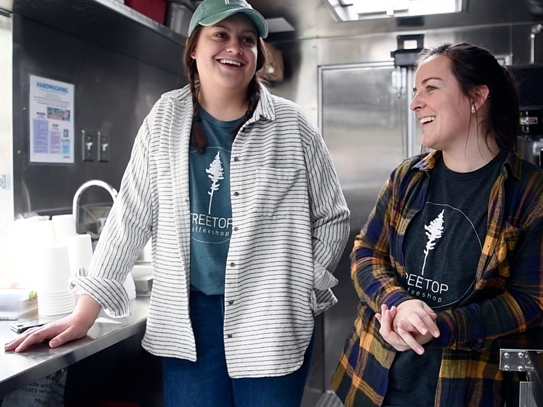 Rachel Casstevens, left, and Courtney Peters have opened a mobile coffee shop called Treetop Coffee Shop and are serving their first Sunday at Central Filling Station on Sunday, March 10, 2019.
