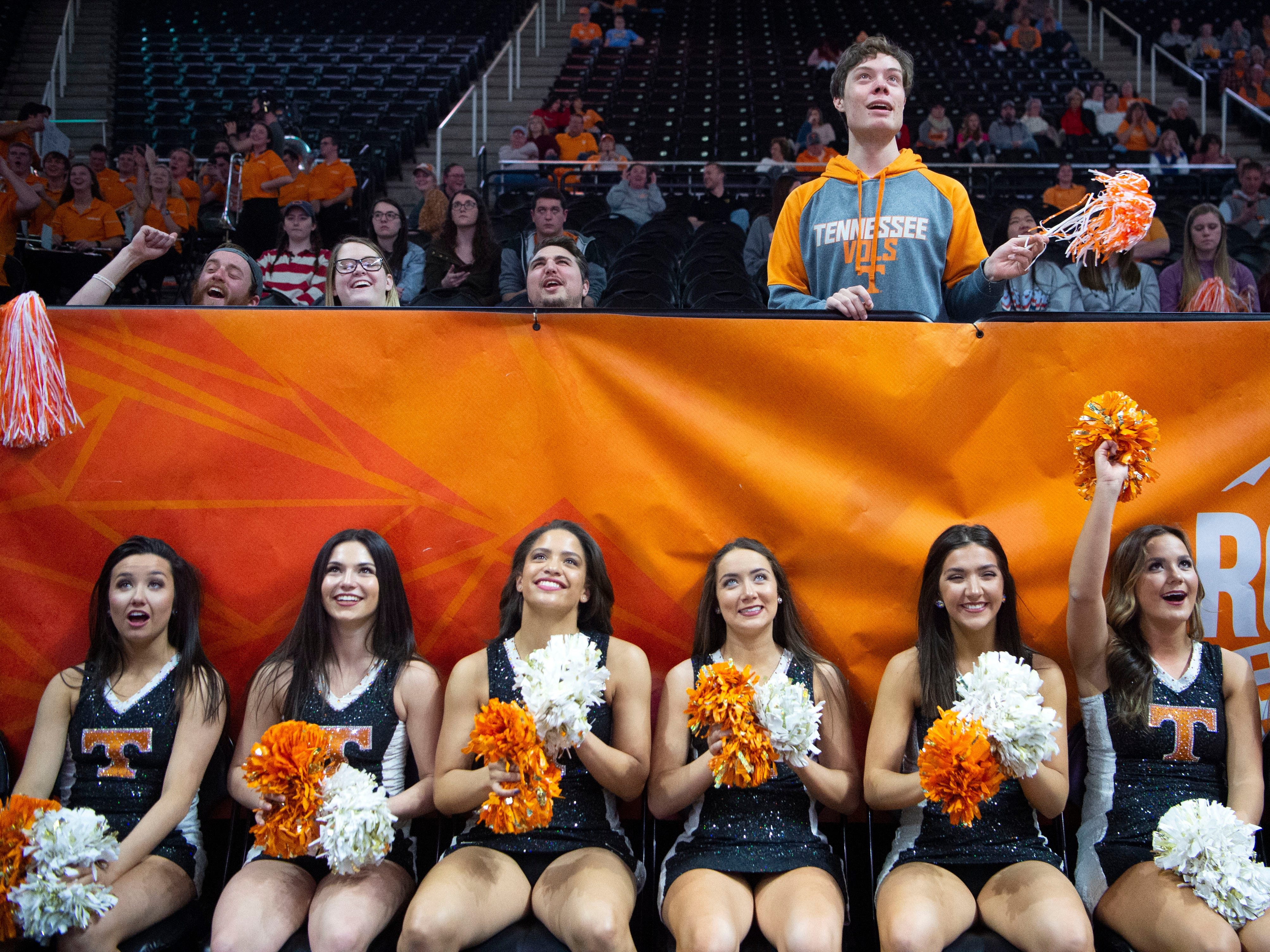 The Tennessee dance team cheer on the Lady Vols in the game against Auburn on Thursday, February 14, 2019.