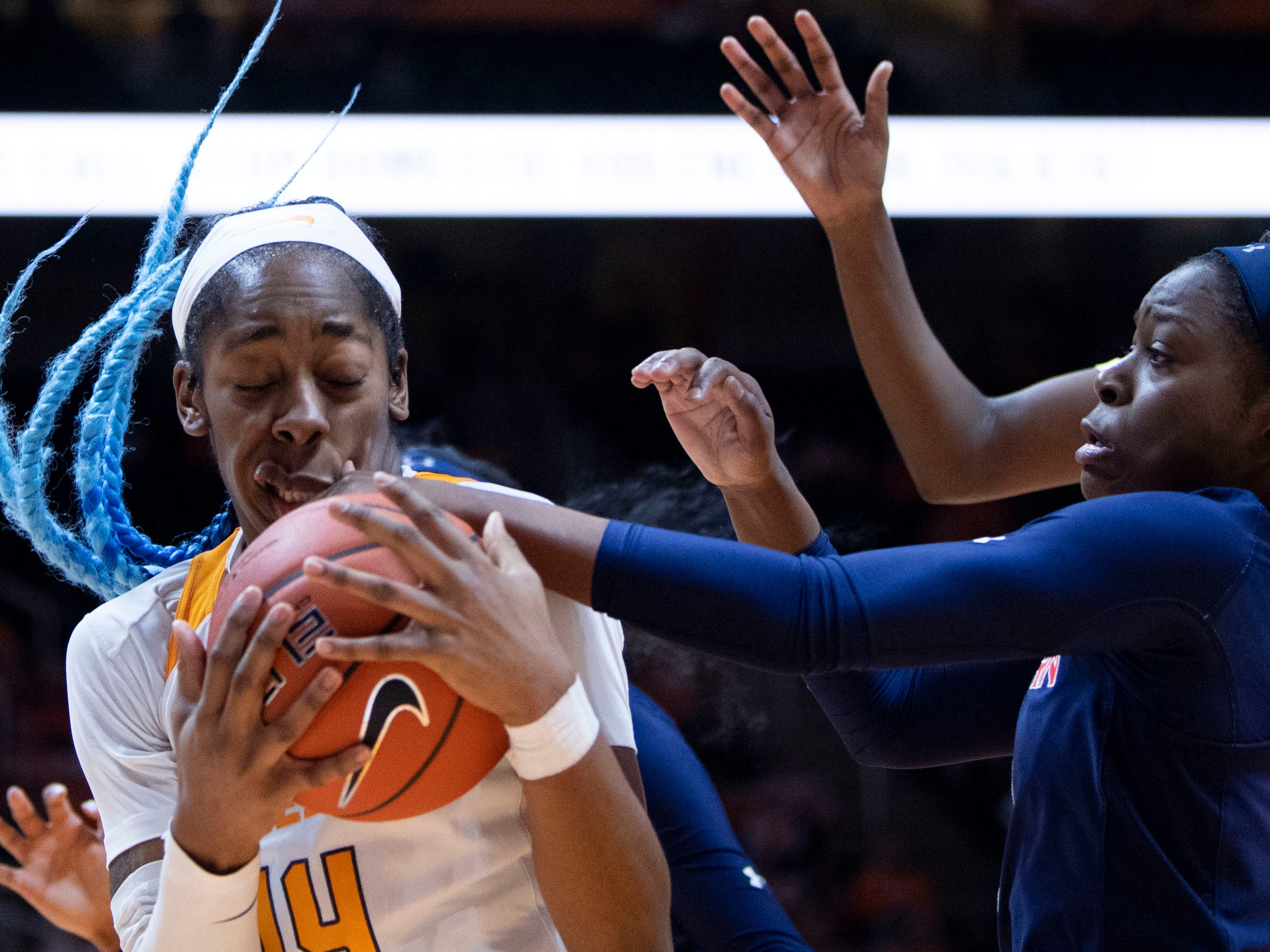 Tennessee's Zaay Green (14) grabs the rebound in the game against Auburn on Thursday, February 14, 2019.