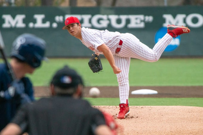 UL's Austin Perrin throws a pitch to the batter as the Ragin' Cajuns take on the Loyola Marymount Lions at M.L. Tigue Moore Field on March 10, 2019.