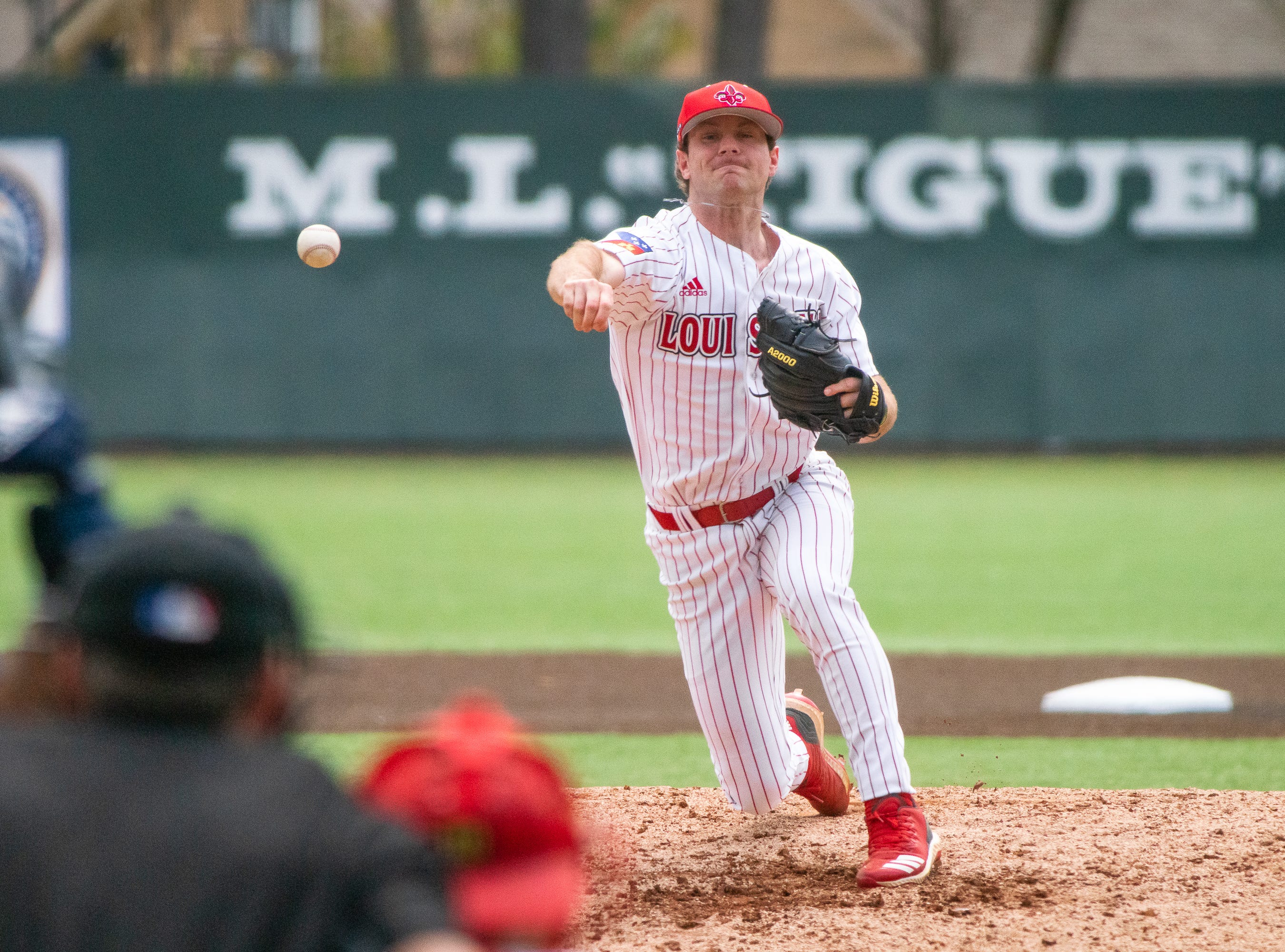 UL's Caleb Armstrong throws a pitch to the plate as the Ragin' Cajuns take on the Loyola Marymount Lions at M.L. Tigue Moore Field on March 10, 2019.
