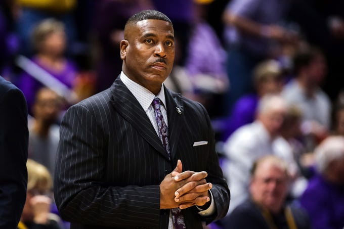 Mar 9, 2019; Baton Rouge, LA, USA; LSU Tigers head coach Tony Benford looks on against Vanderbilt Commodores in the first half at Maravich Assembly Center. Mandatory Credit: Stephen Lew-USA TODAY Sports