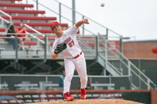 UL pitcher Austin Perrin, shown here against Loyola Marymount on March 10, recorded a career-high 8 strikeouts in Sunday's win over LIttle Rock.