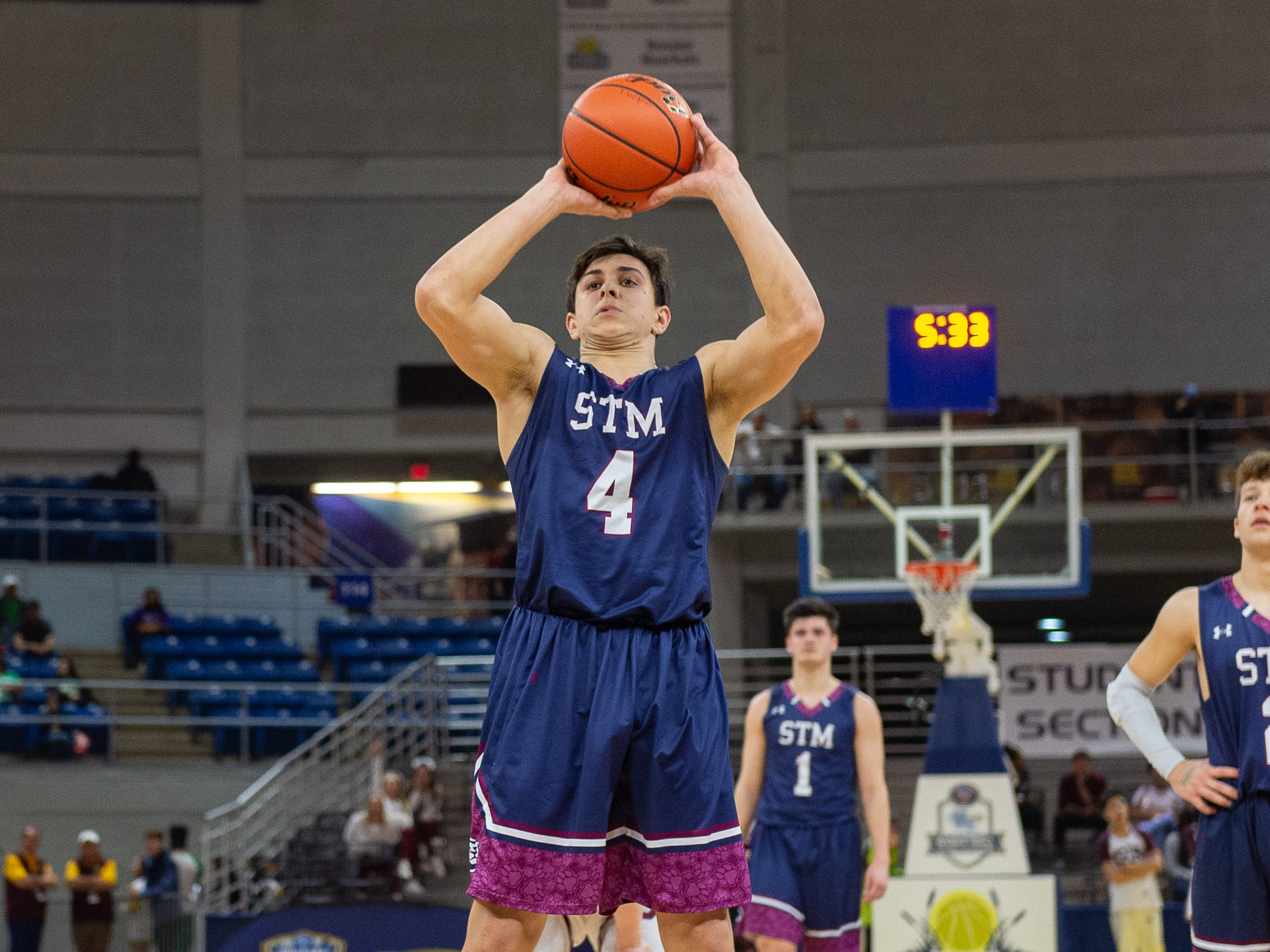 Jack Bech at the free throw line as The STM Cougars beat DeLaSalle in double overtime to win the Allstate Sugar Bowl/LHSAA Boys' Marsh Madness Div II State Championship. Saturday, March 9, 2019.