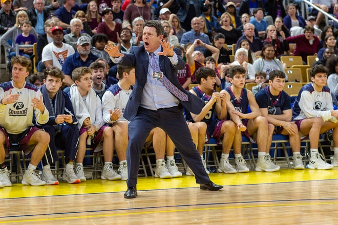 Head Coach Danny Broussard vigorously suggest that game official missed the call, however the official does not agree . The STM Cougars go on to beat DeLaSalle in double overtime to win the Allstate Sugar Bowl/LHSAA Boys' Marsh Madness Div II State Championship. Saturday, March 9, 2019.