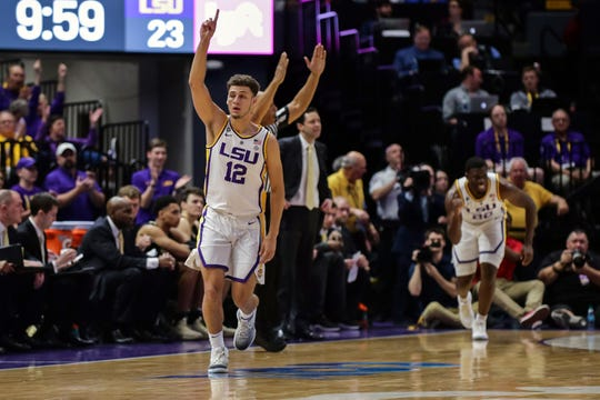 Mar 9, 2019; Baton Rouge, LA, USA; LSU Tigers guard Marshall Graves (12) reacts to sinking a three point basket against Vanderbilt Commodores in the first half at Maravich Assembly Center. Mandatory Credit: Stephen Lew-USA TODAY Sports