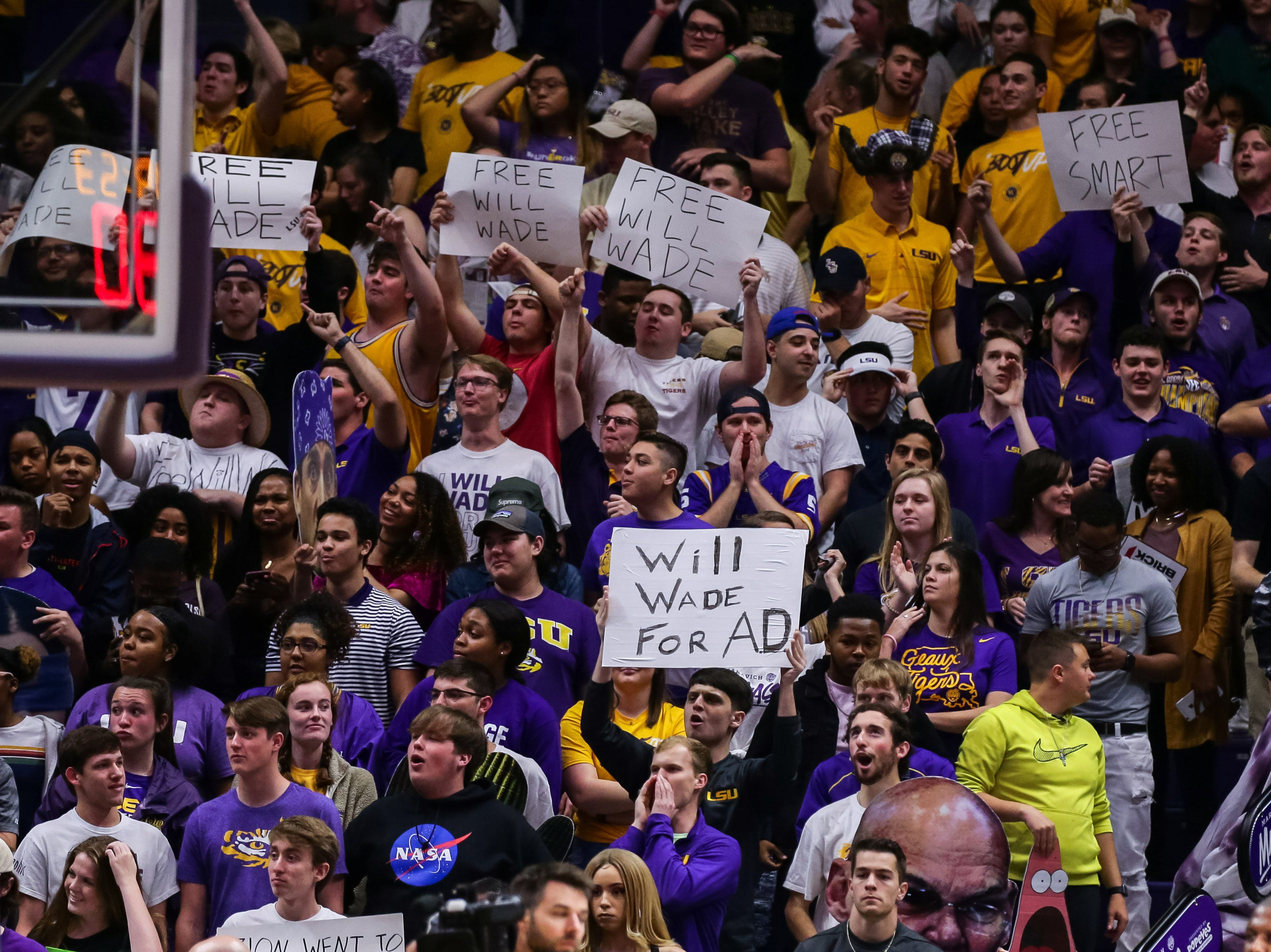 Mar 9, 2019; Baton Rouge, LA, USA; LSU Tigers student section show support for coach Will Wade agasint Vanderbilt Commodores in the first half at Maravich Assembly Center. Mandatory Credit: Stephen Lew-USA TODAY Sports