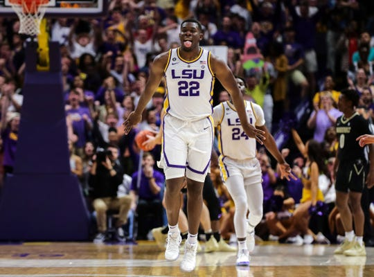 Mar 9, 2019; Baton Rouge, LA, USA; LSU Tigers forward Darius Days (22) reacts to sinking a three point basket against Vanderbilt Commodores in the first half at Maravich Assembly Center. Mandatory Credit: Stephen Lew-USA TODAY Sports