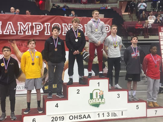 Lancaster's Logan Agin fell 3-2 in the Division I 113-pound weight class to finish state runner-up in the state wrestling tournament Saturday night at Ohio State's Value City Arena.