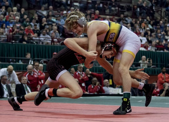 Logan Agin of Lancaster wrestles Dustin Norris of Cincinnati LaSalle Saturday for the championship spot in the Division I 113 weight class match. Agin lost the match placing second overall in the tournament.