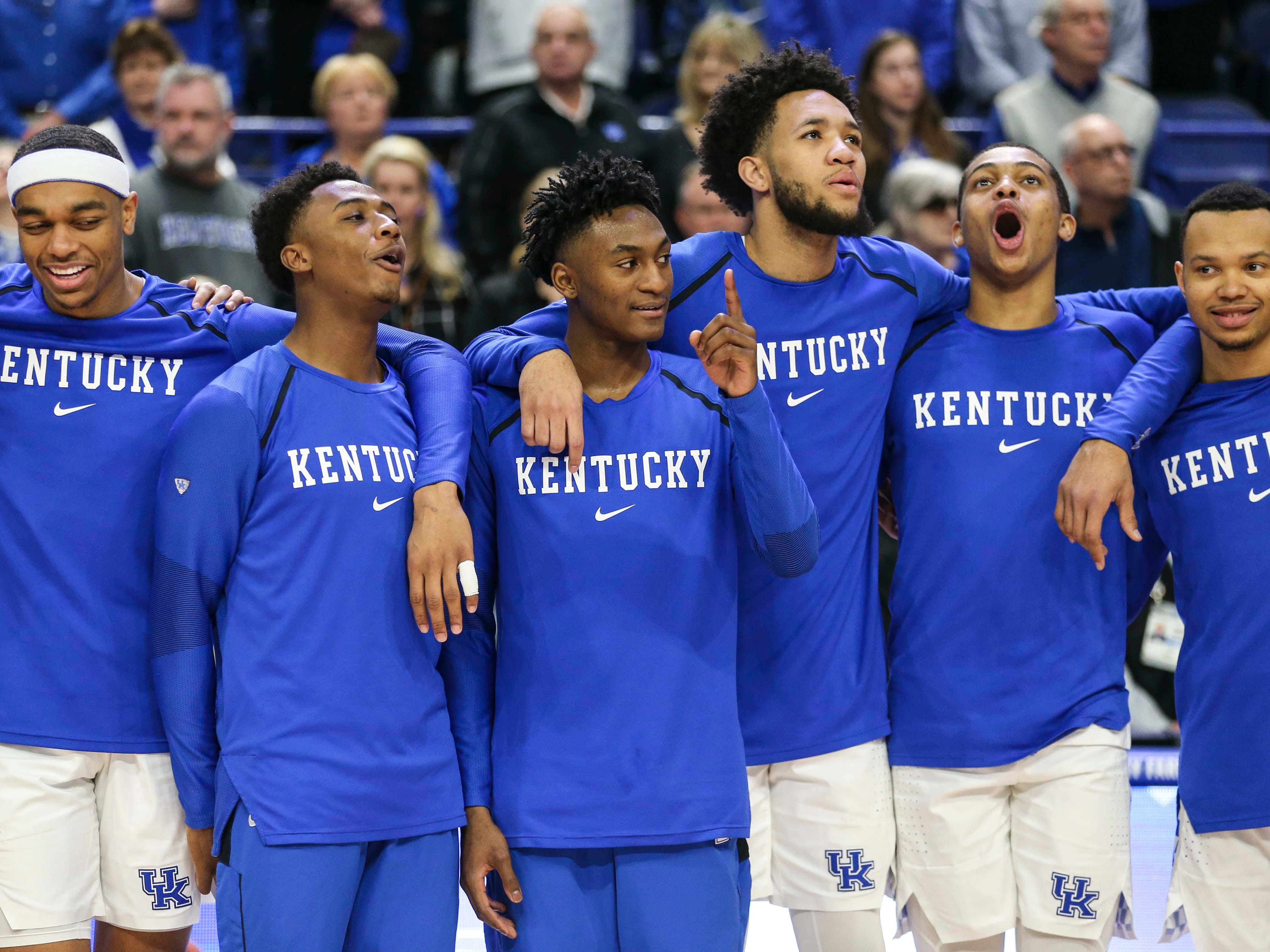 Kentucky's Keldon Johnson sings along during 'My Old Kentucky Home' on  Senior Day before the game against Florida. March 9, 2019