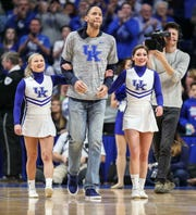 Former UK player Tayshaun Prince walked out to center court during a timeout in the game against Florida. March 9, 2019