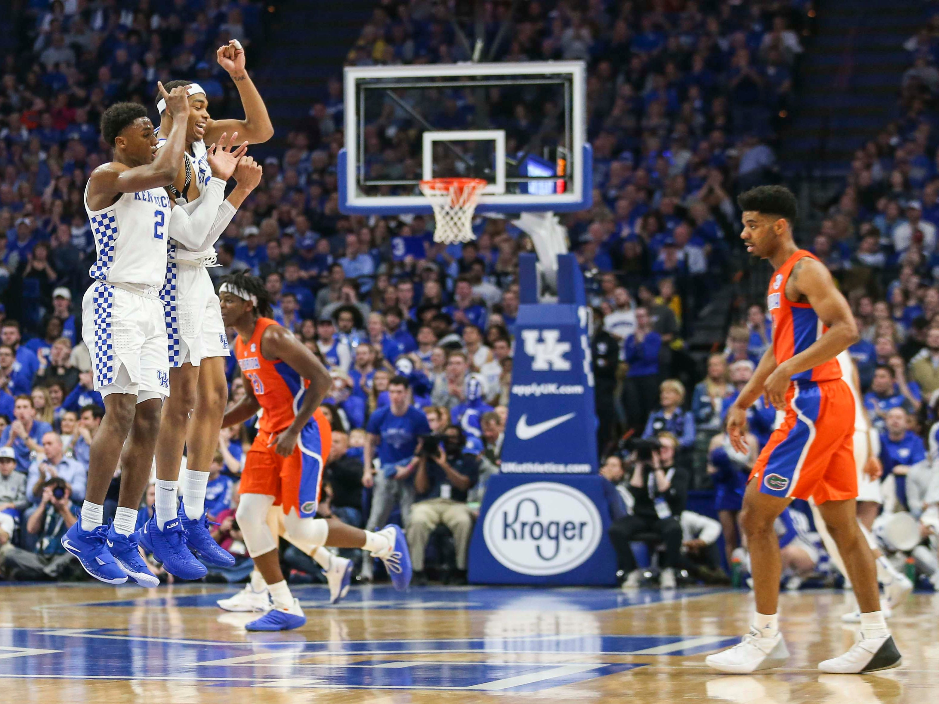Kentucky's Ashton Hagans and PJ Washington Jr celebrate after Hagan's fast break two points against Florida in the first half. March 9, 2019