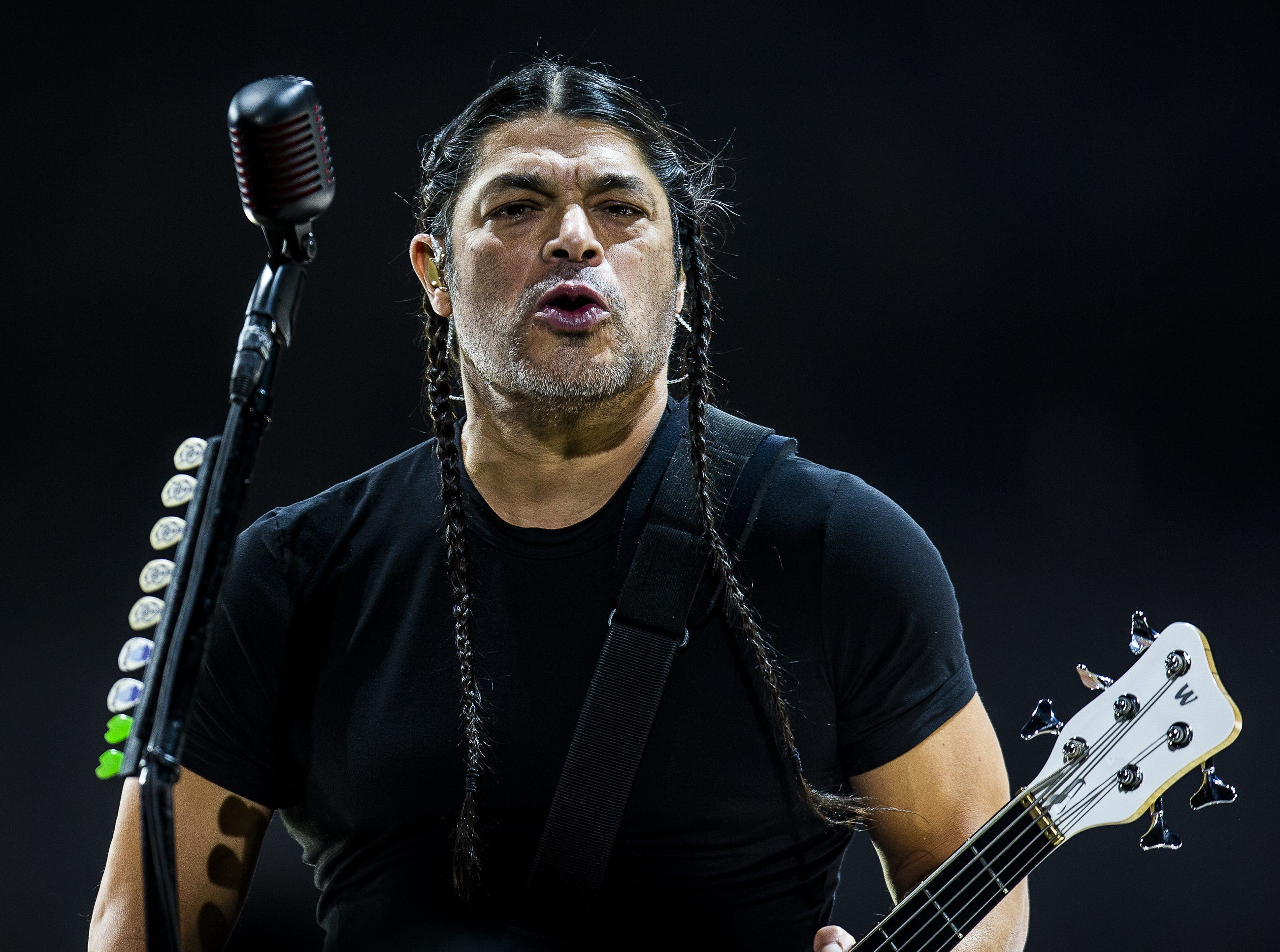 Robert Trujillo, Metallica's bass player, performs at the KFC Yum Center in downtown Louisville, Ky. on Saturday, March 9, 2019.
