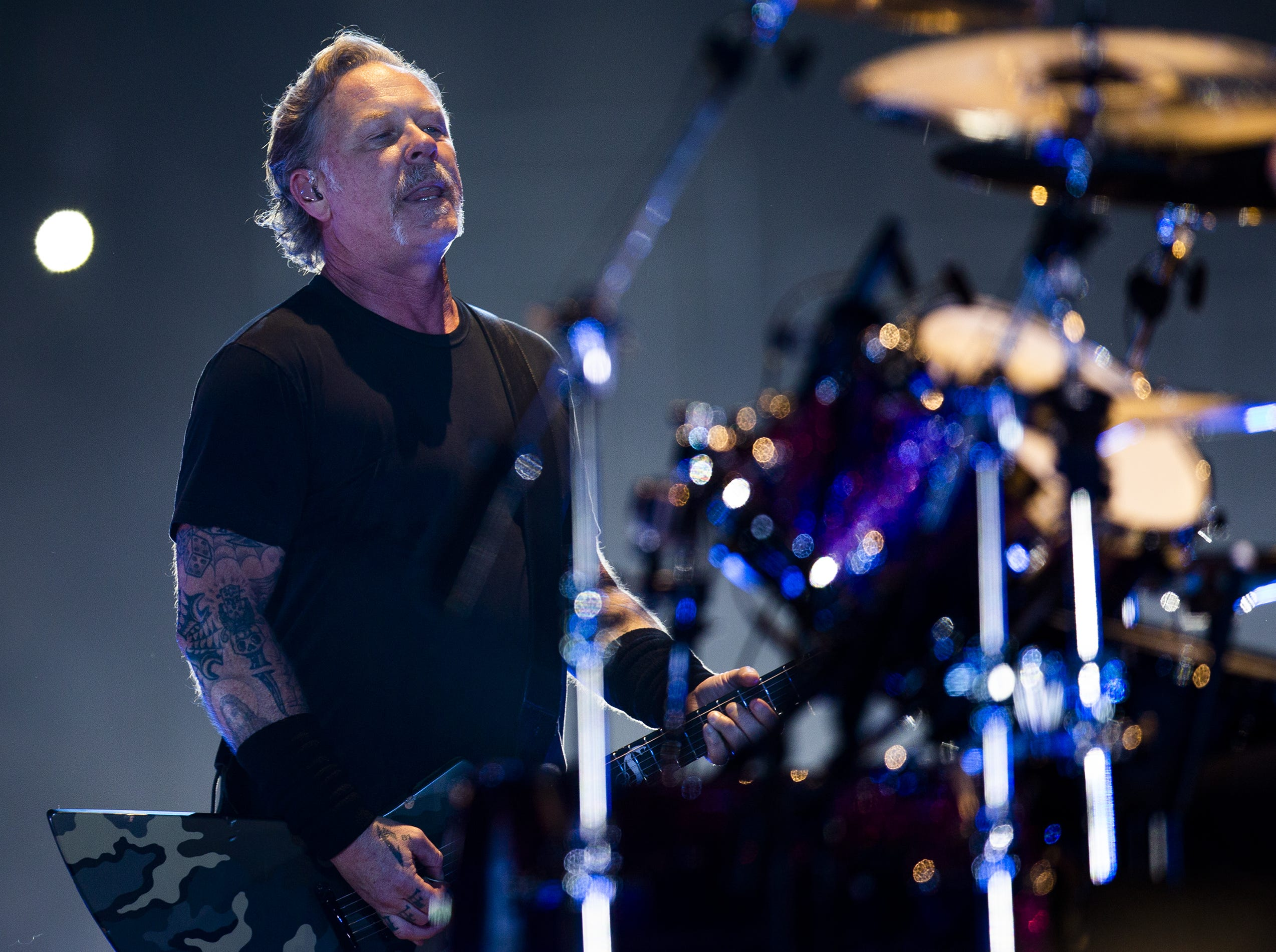 James Hetfield, Metallica's lead vocalist, performs at the KFC Yum Center in downtown Louisville, Ky. on Saturday, March 9, 2019.