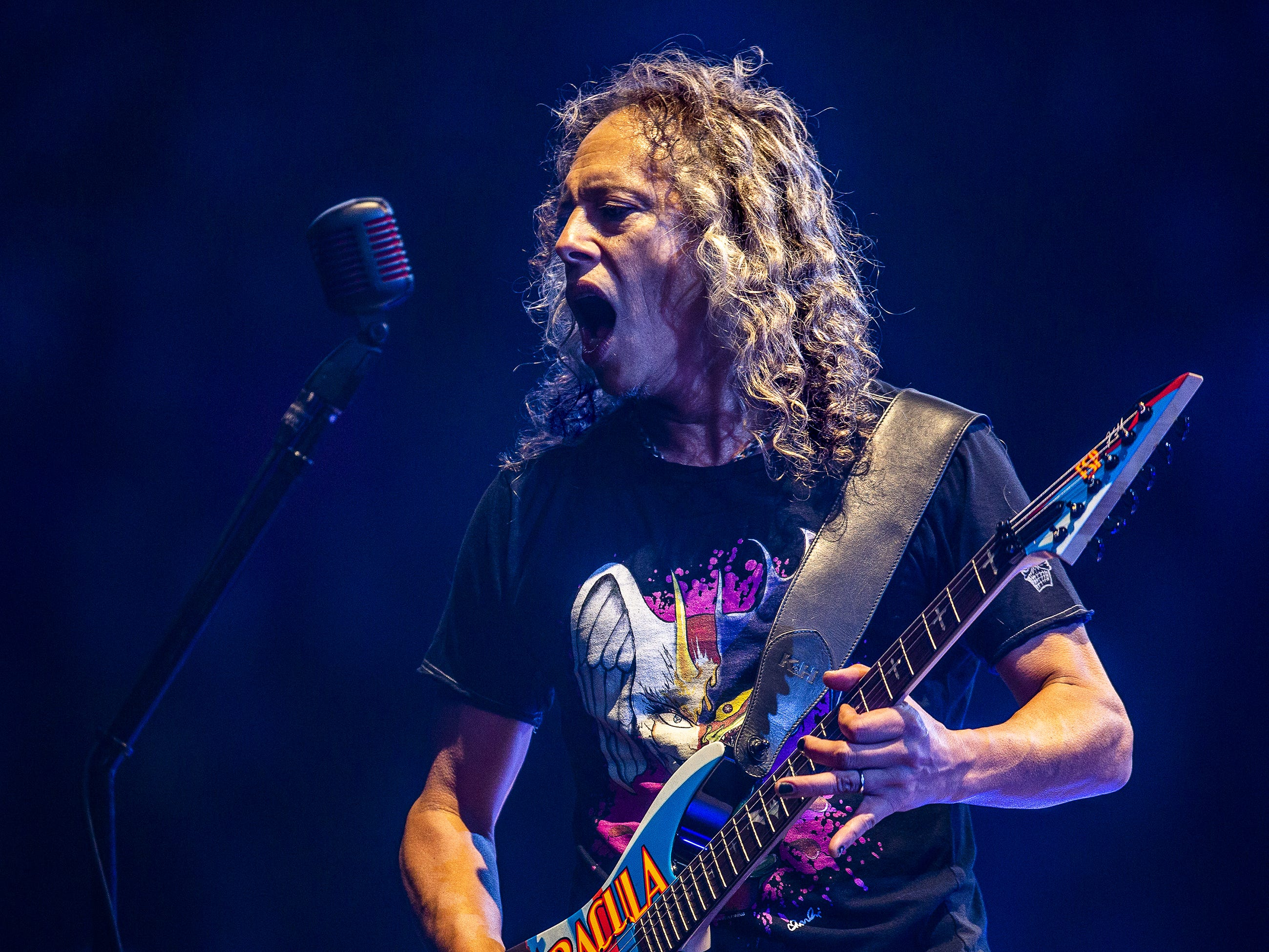Kirk Hammett, Metallica's lead guitarist, performs at the KFC Yum Center in downtown Louisville, Ky. on Saturday, March 9, 2019.
