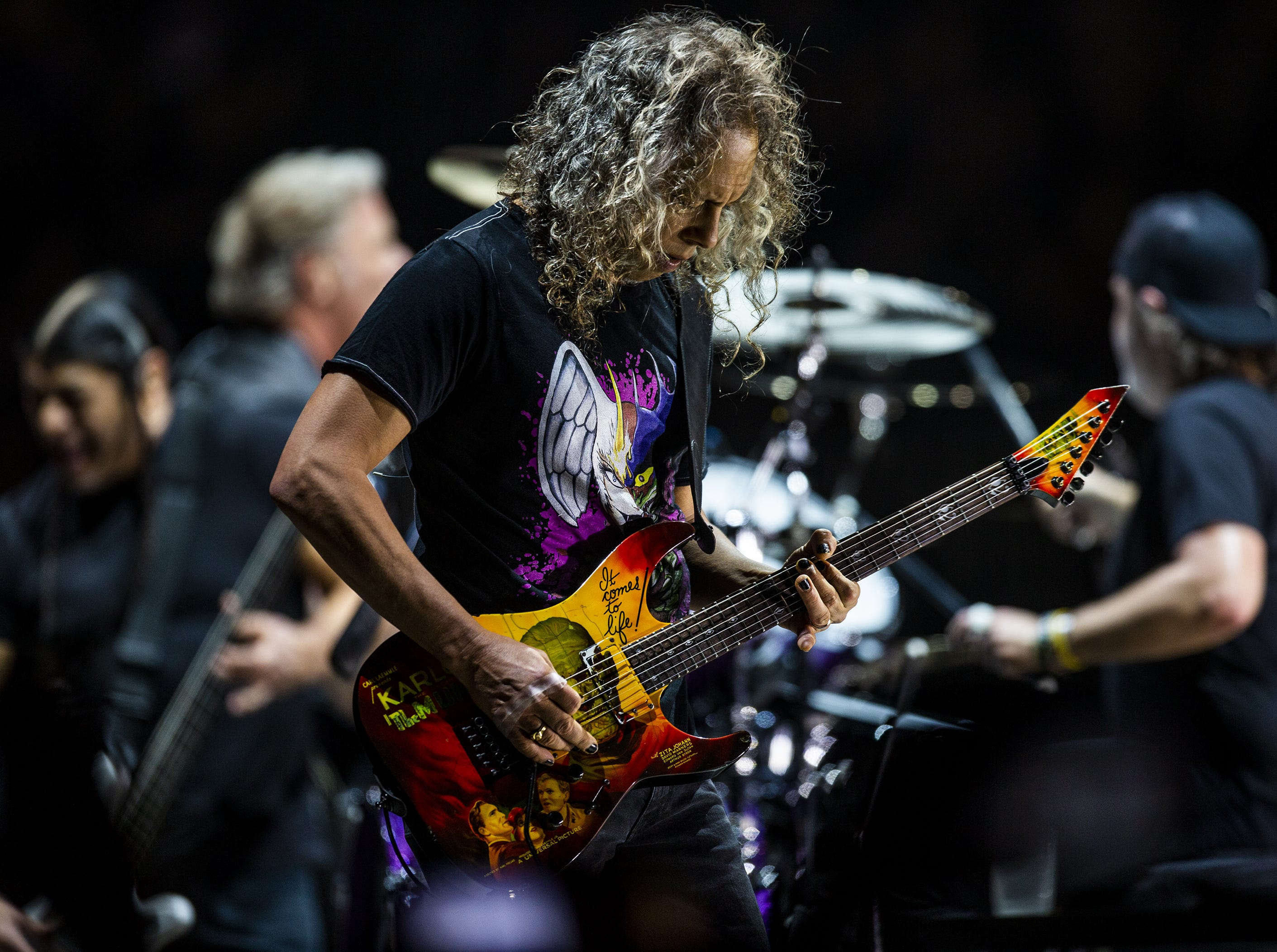 Kirk Hammett, Metallica's lead guitarist, let a solo rip while performing at the KFC Yum Center in downtown Louisville, Ky. on Saturday, March 9, 2019.
