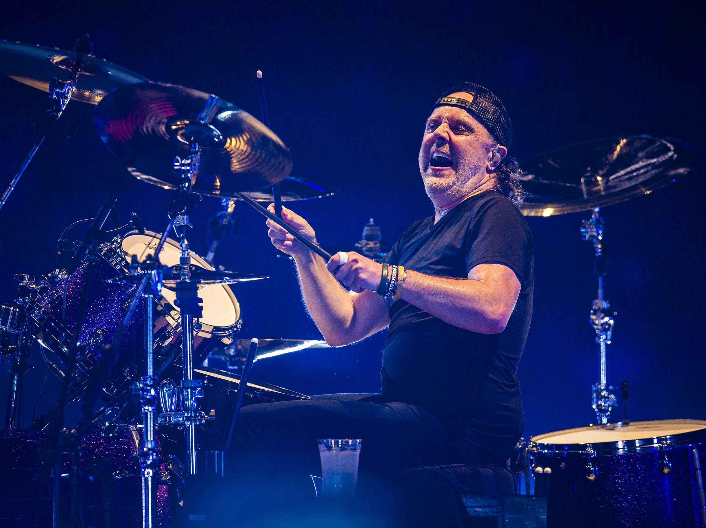 Lars Ulrich, Metallica's drummer, performs at the KFC Yum Center in downtown Louisville, Ky. on Saturday, March 9, 2019.